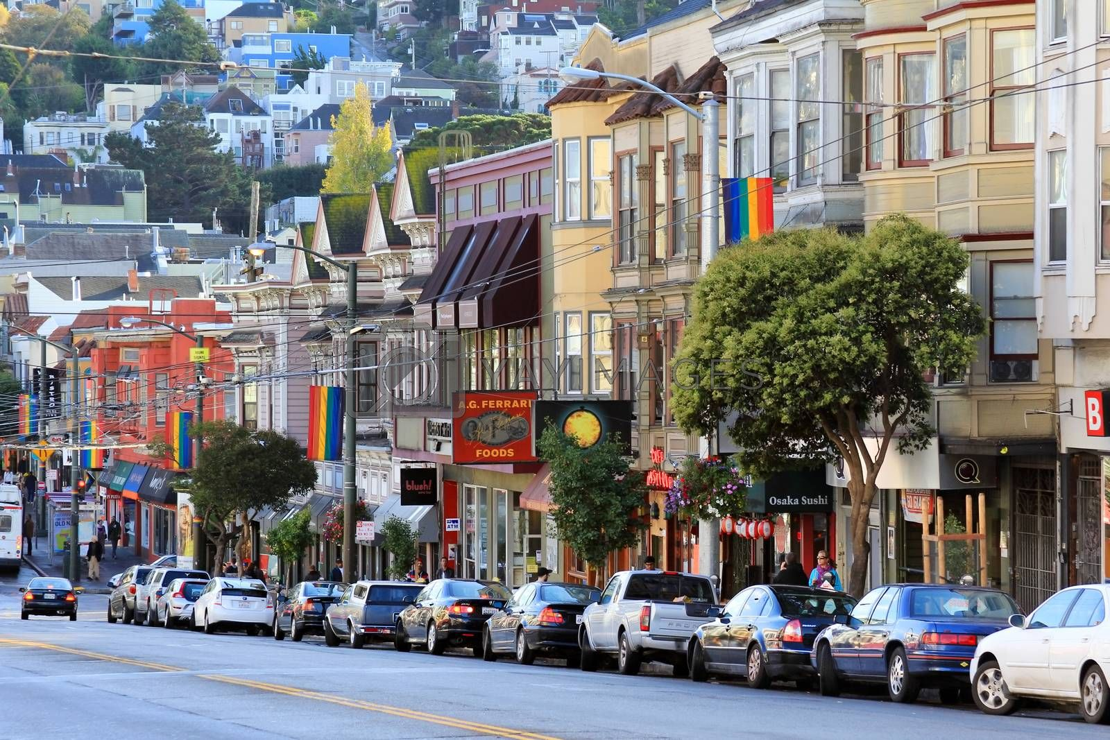 San Francisco, CA, USA - October 23, 2012: Castro district in San Francisco, USA. Castro is one of the United States' first and best-known gay neighborhoods, and it is currently its largest.