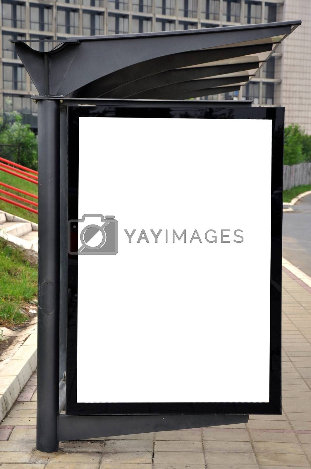 Blank billboard for advertising on a bus and tram stop
