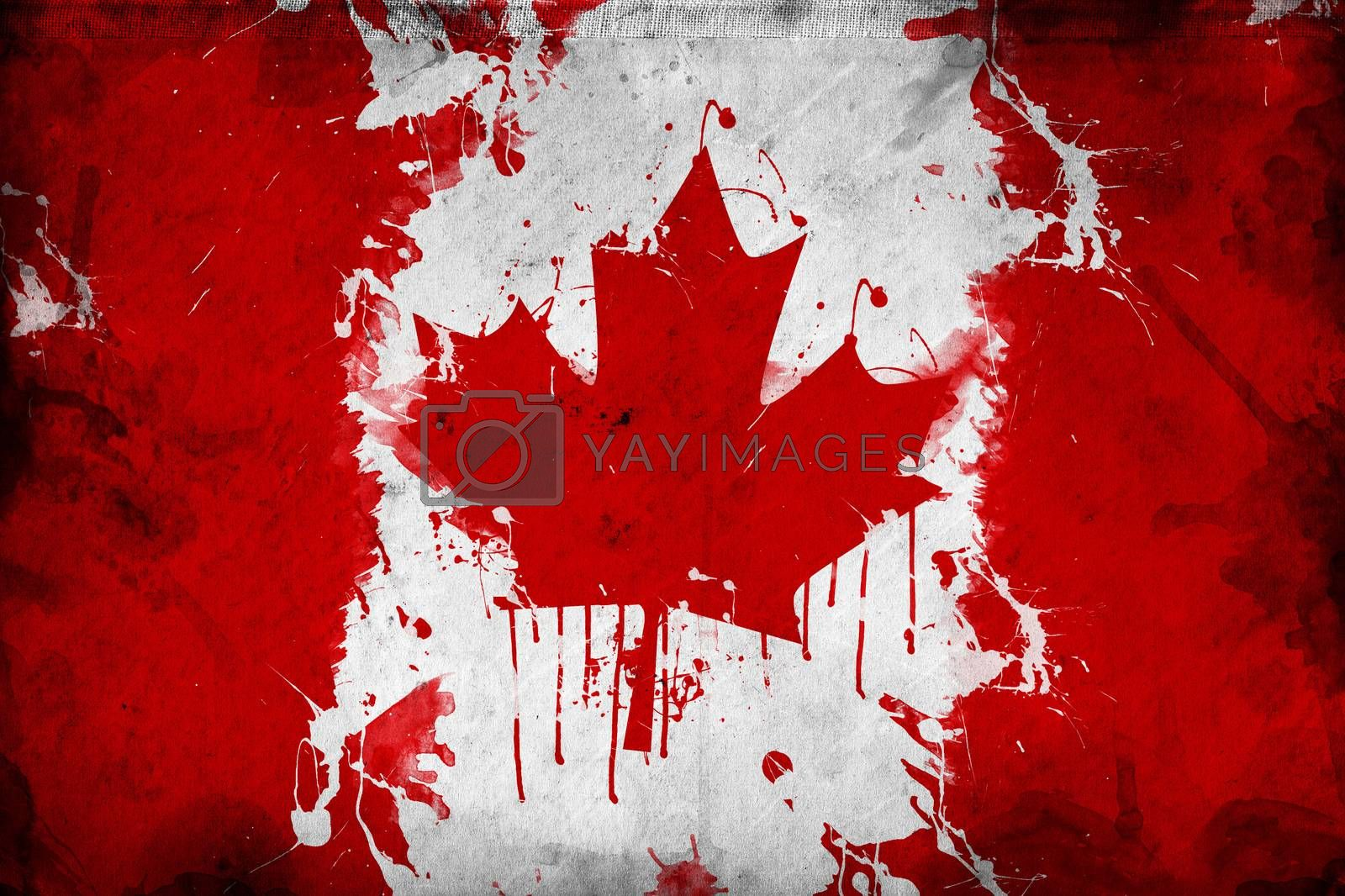 Grunge Canada flag, image is overlaying a detailed grungy texture