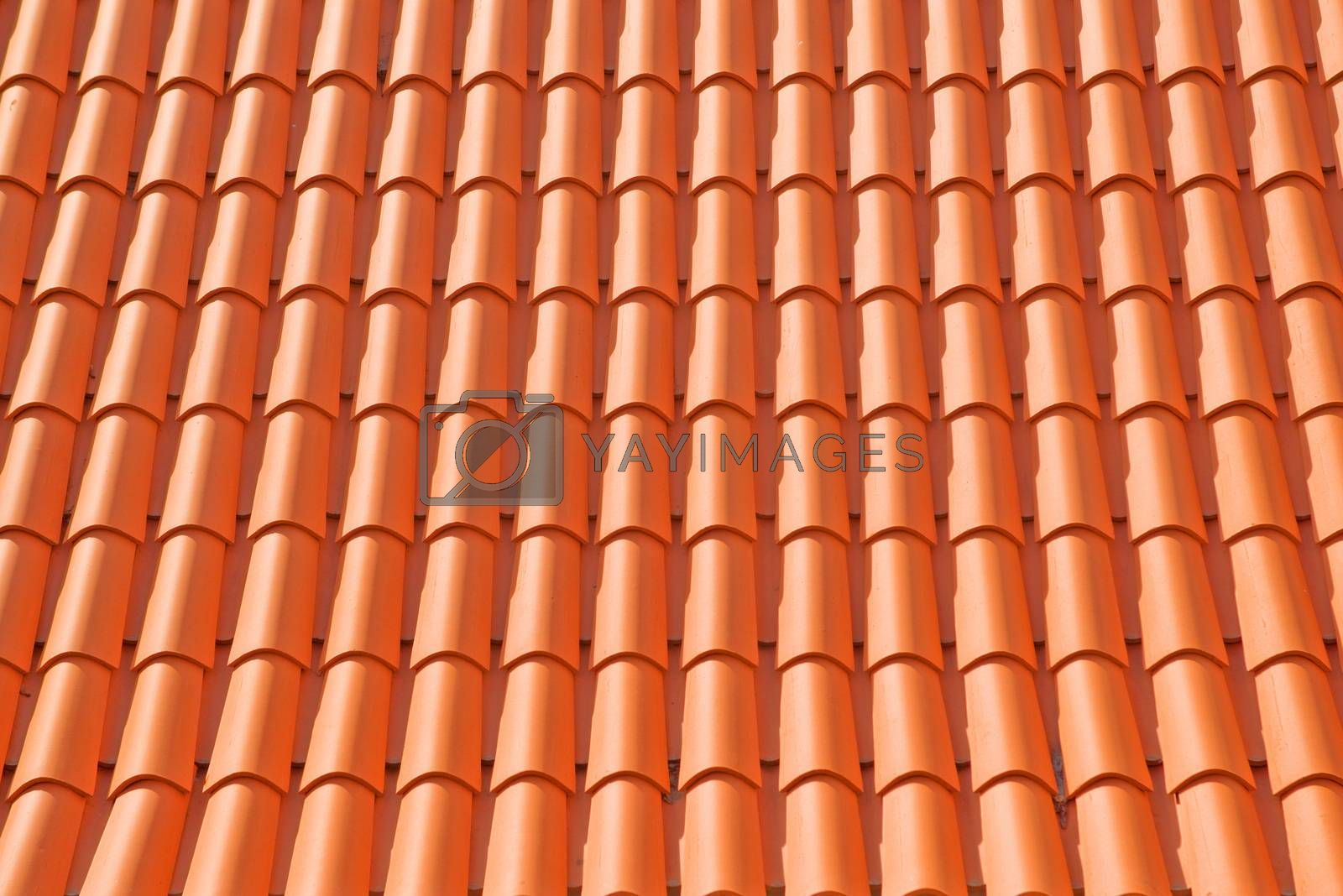 Roof texture tile. Abstract background tile of orange clay roof.