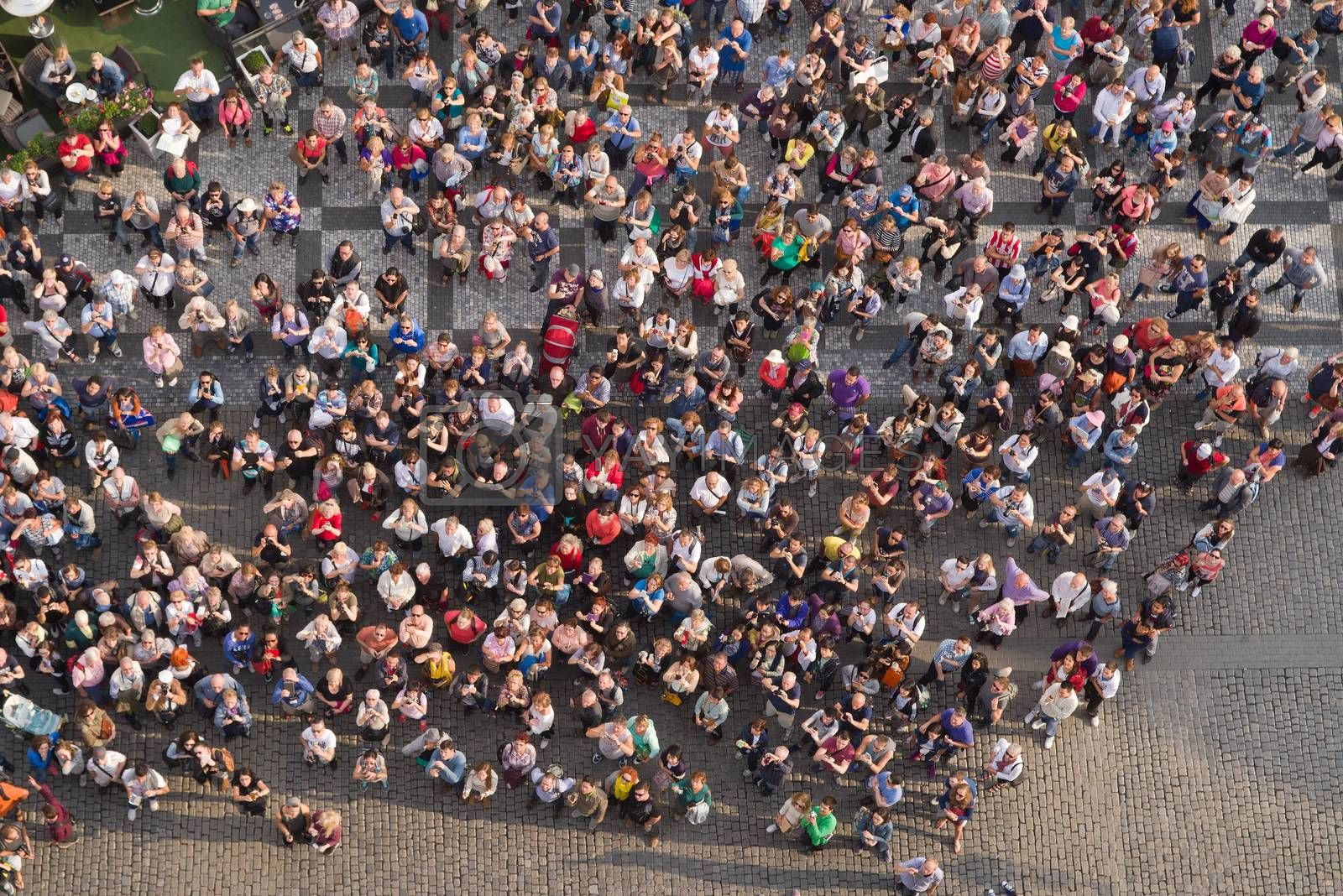 Tourists at Prague Old Town Square by stevanovicigor