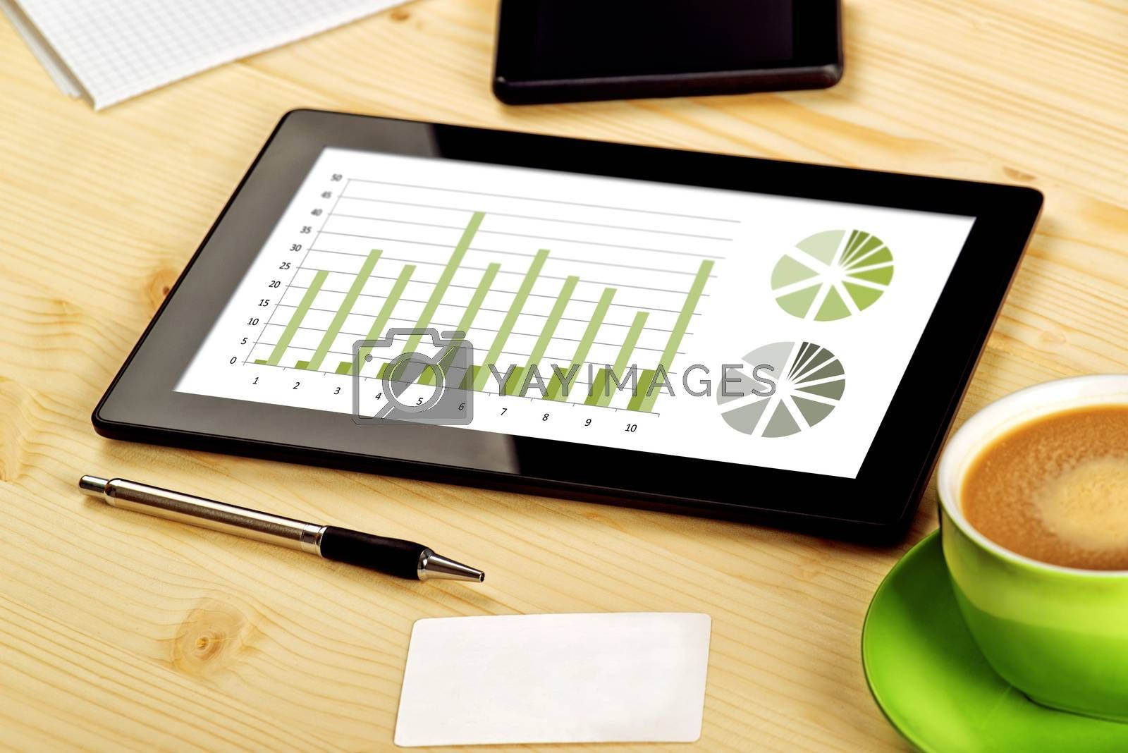 Business Analysis, Digital Tablet with Financial Charts on Office Table