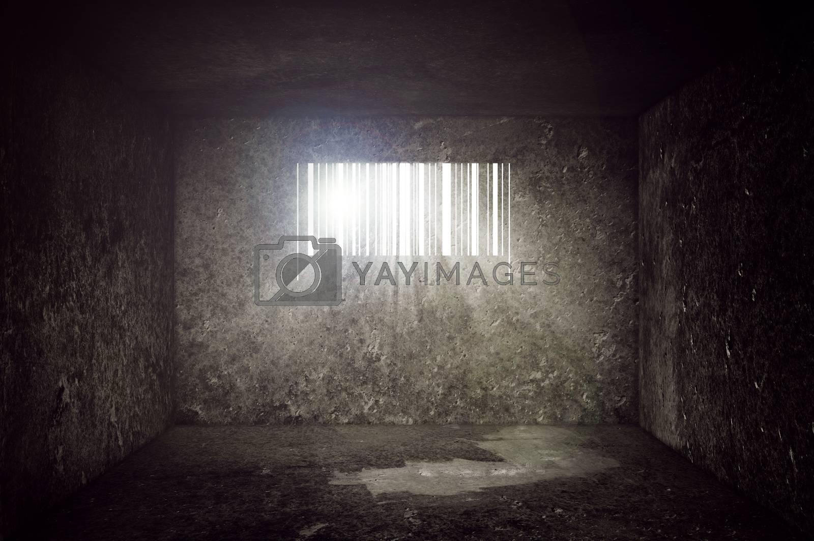 Compulsive Consumerism Concept, Empty Concrete Prison Cell with Barcode shaped Window. Sun rays and sun flare through the prison bars.
