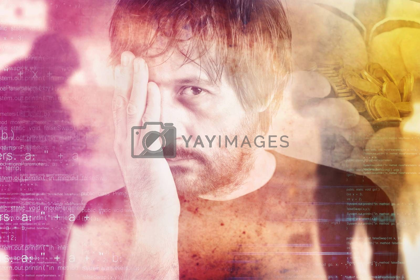 Double exposure portrait of man in financial trouble, money problems, drowned by debt concept.