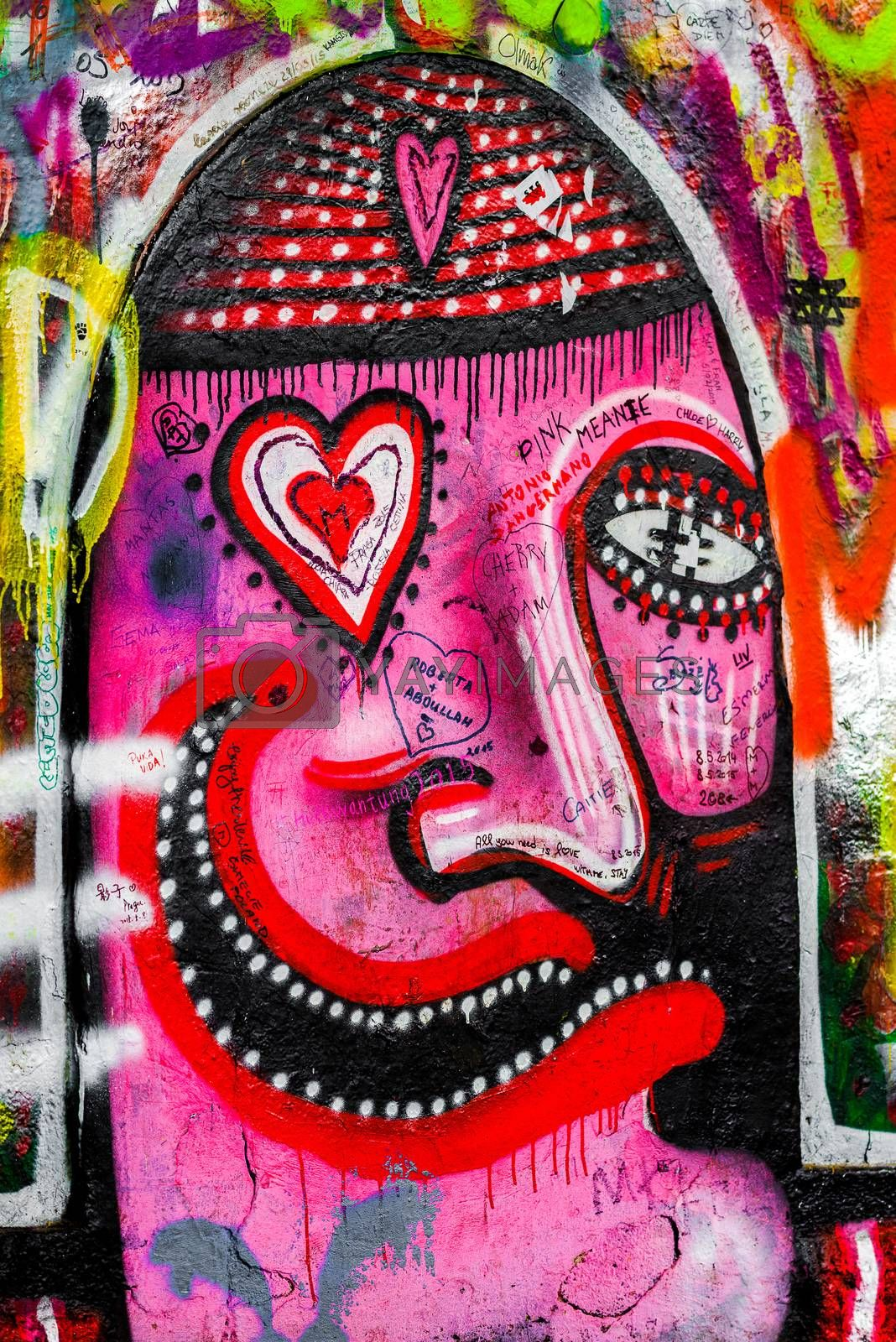 PRAGUE, CZECH REPUBLIC - MAY 21, 2015: Detail from Famous John Lennon Wall on Kampa Island in Prague filled with Beatles inspired graffiti and lyrics since the 1980s.