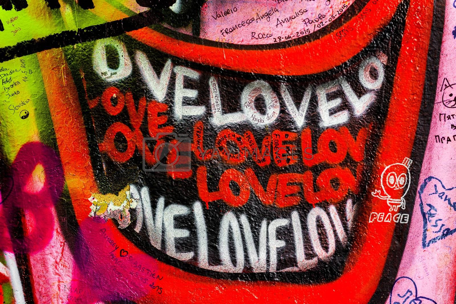 John Lennon Wall in Prague, Famous Tourist Sightseeing by stevanovicigor