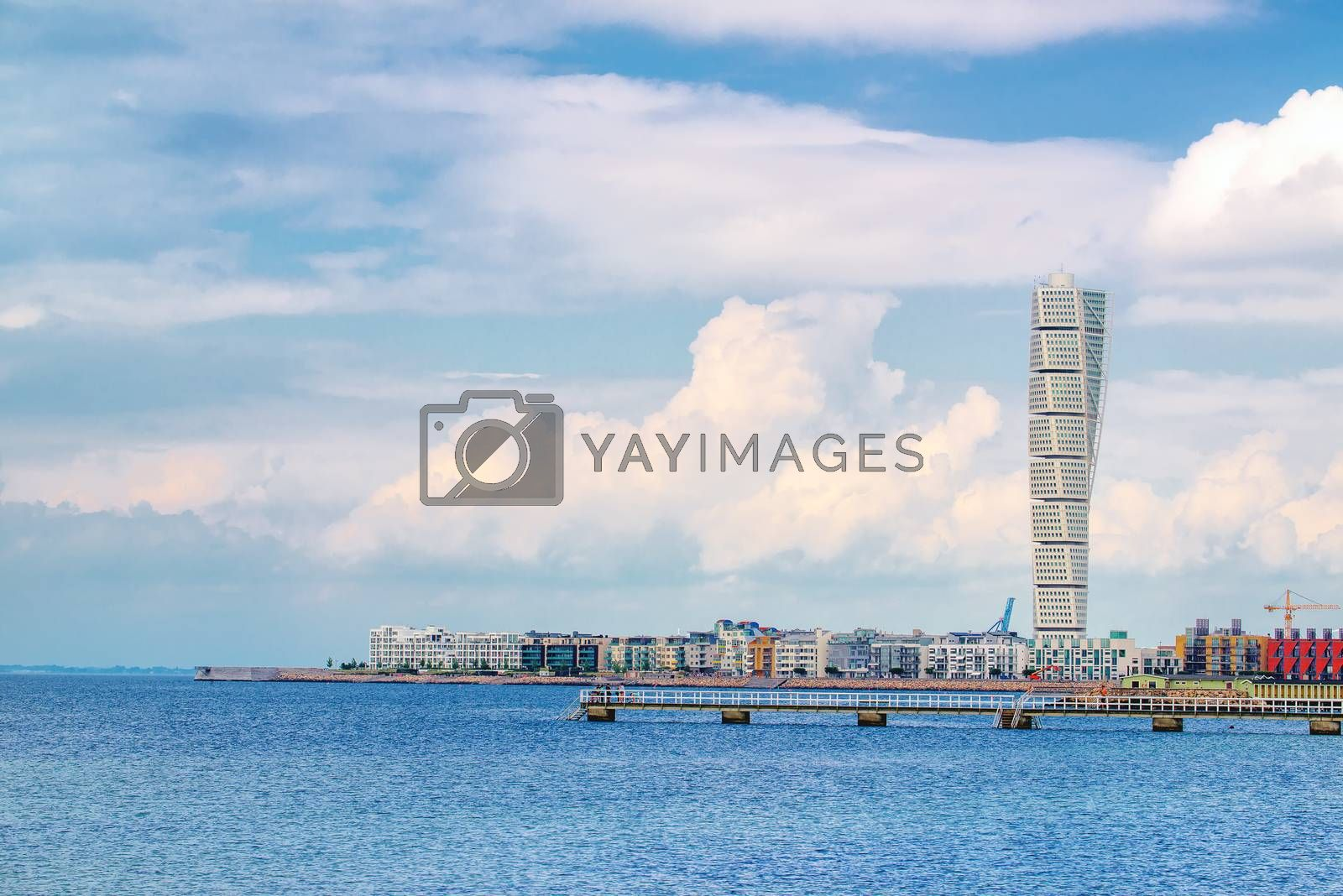 Swedish Malmo West Harbor Area Cityscape with Turning Torso by stevanovicigor