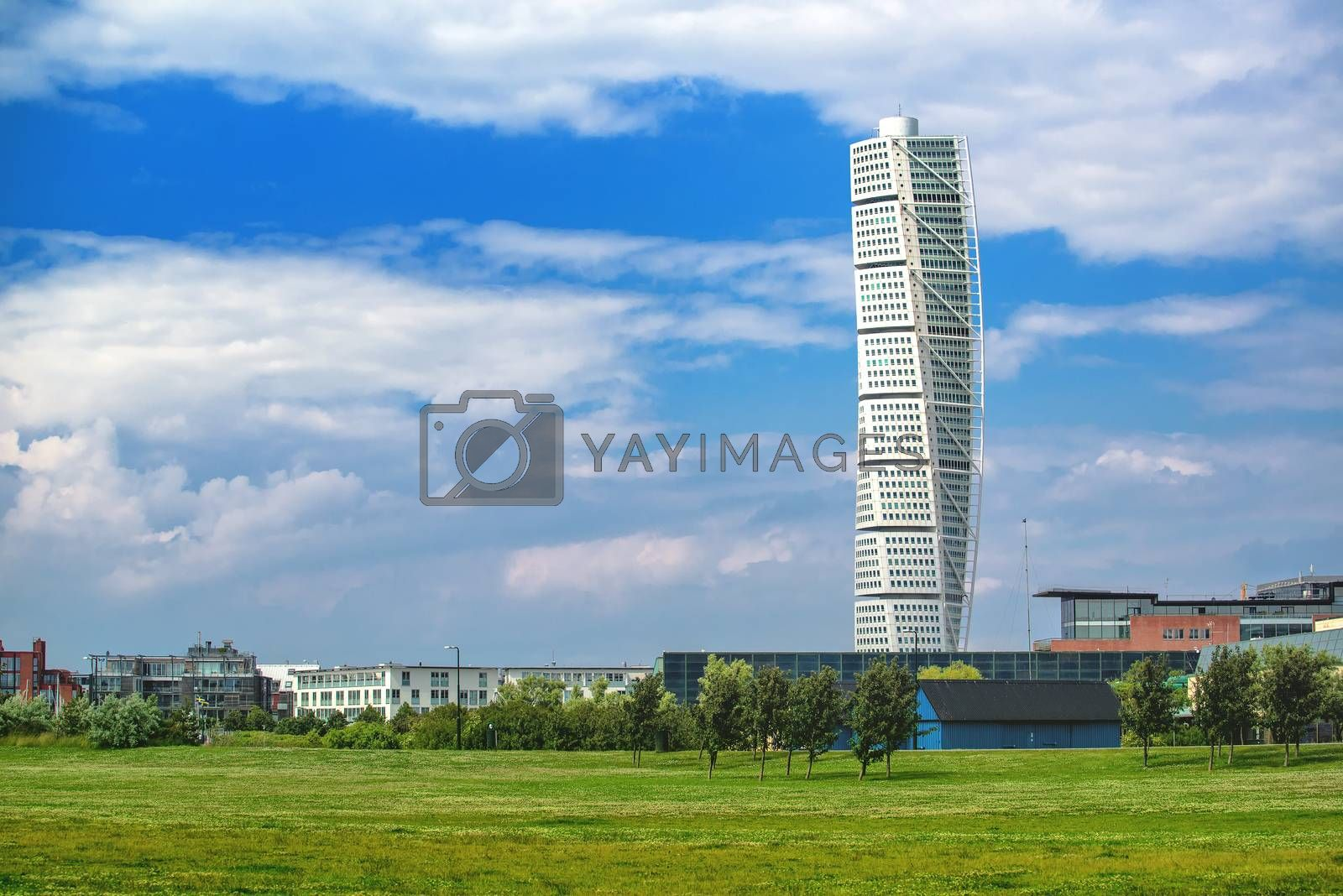 MALMO, SWEDEN - JUNE 29, 2015: Malmo Turning Torso, Distinctive Swedish City Landmark is the Tallest Building in Sweden and Scandinavia, Completed in 2005.