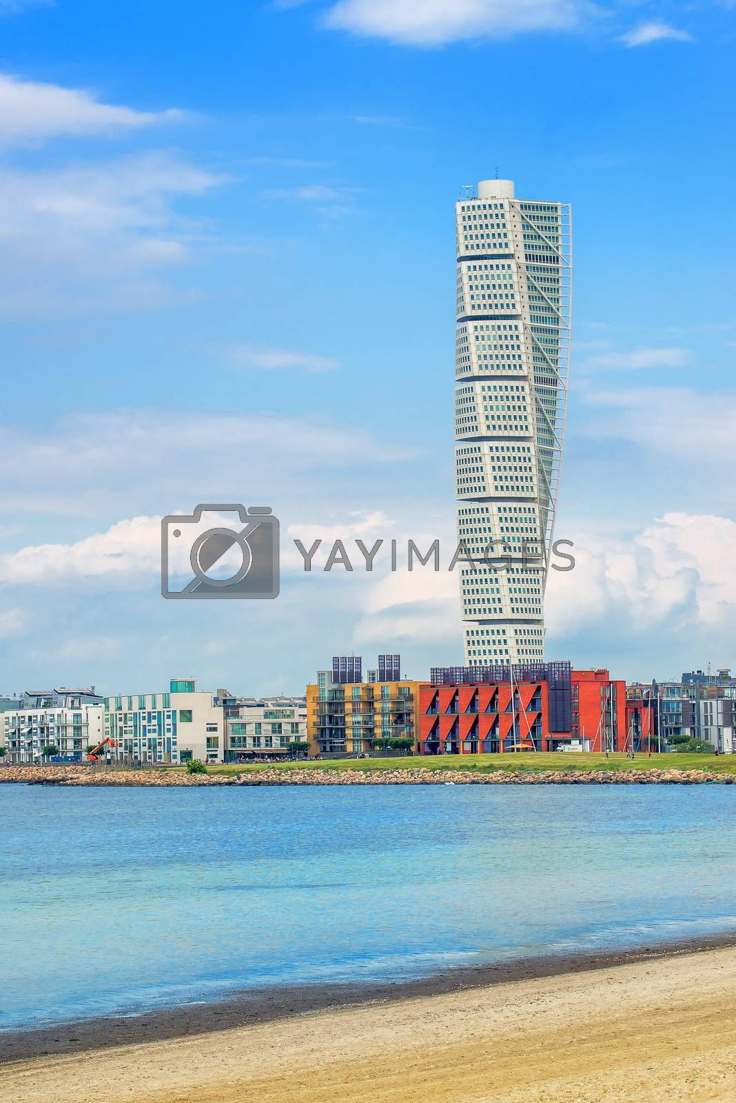 MALMO, SWEDEN - JUNE 29, 2015: Malmo Turning Torso, in Oresund West Harbor Area, Tallest Building in Sweden and Scandinavia, Reaching a Height of 190 metres with 54 stories and 147 apartments.