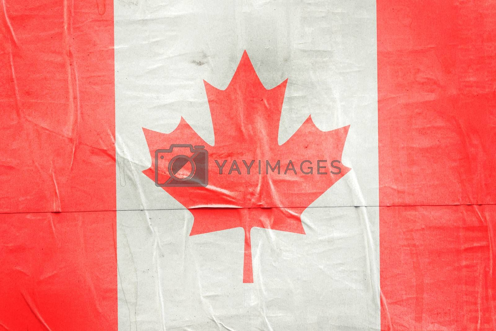 Canada Flag Print on Grunge Poster Paper, Retro Tone Vintage Effect
