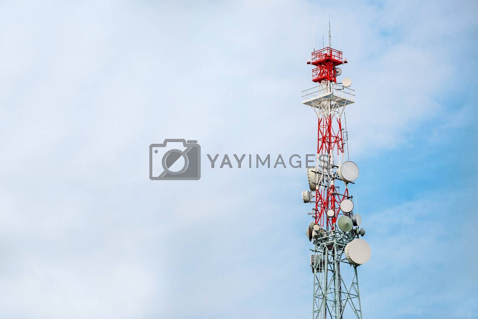 Communication Tower and GSM Antenna Transmitters with Blank Space