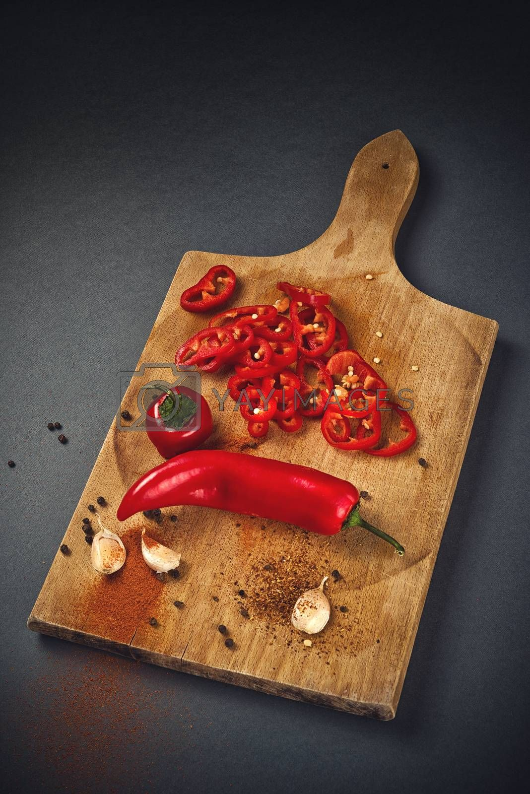 Pepper and Garlic as Hot Food Ingredients for Piquant Cuisine by stevanovicigor
