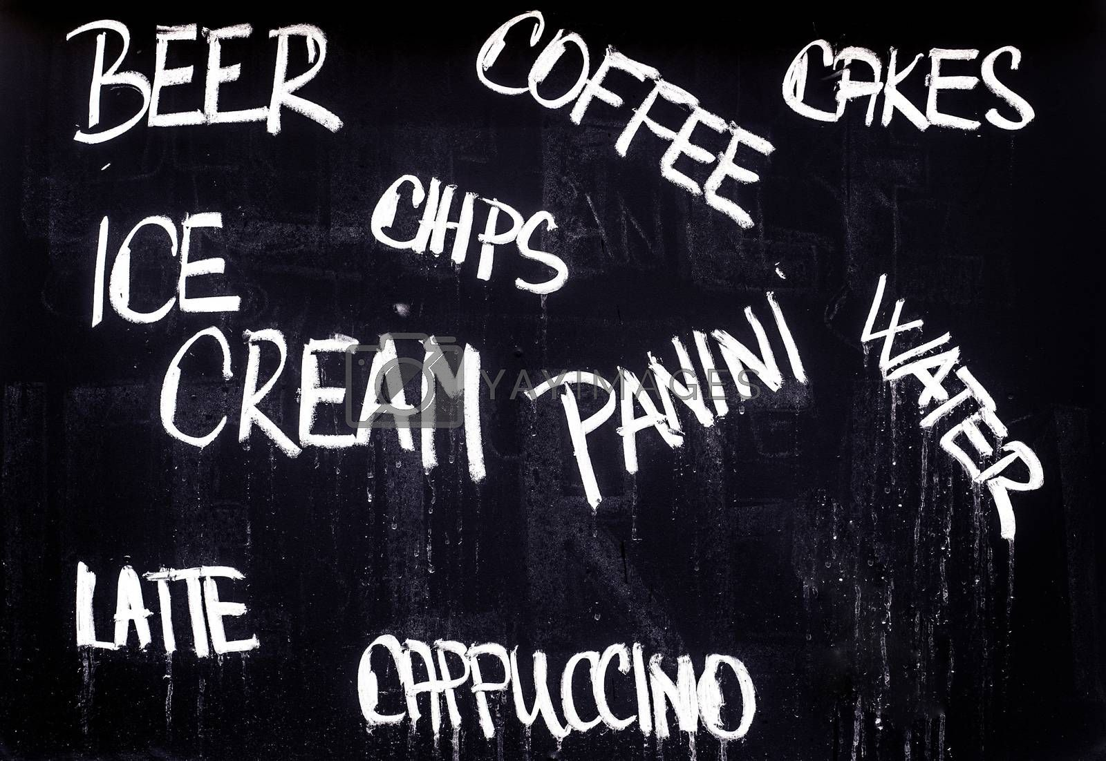 Restaurant Advertising Blackboard with Food and Drink List in Ch by stevanovicigor