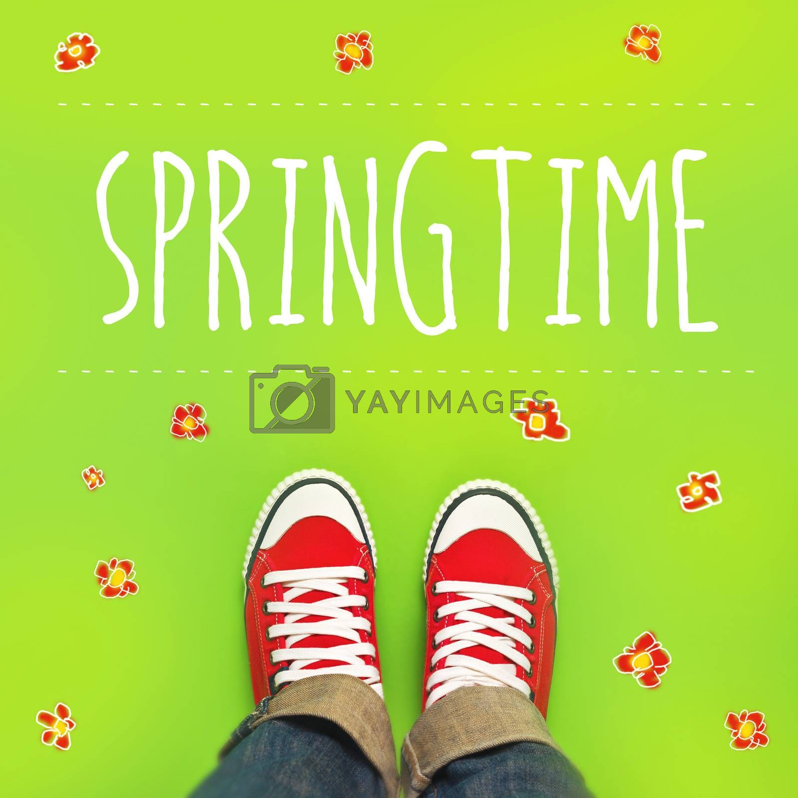 Springtime Concept, Woman with Red Sneakers Standing on Green Spring Background with drawn flowers.