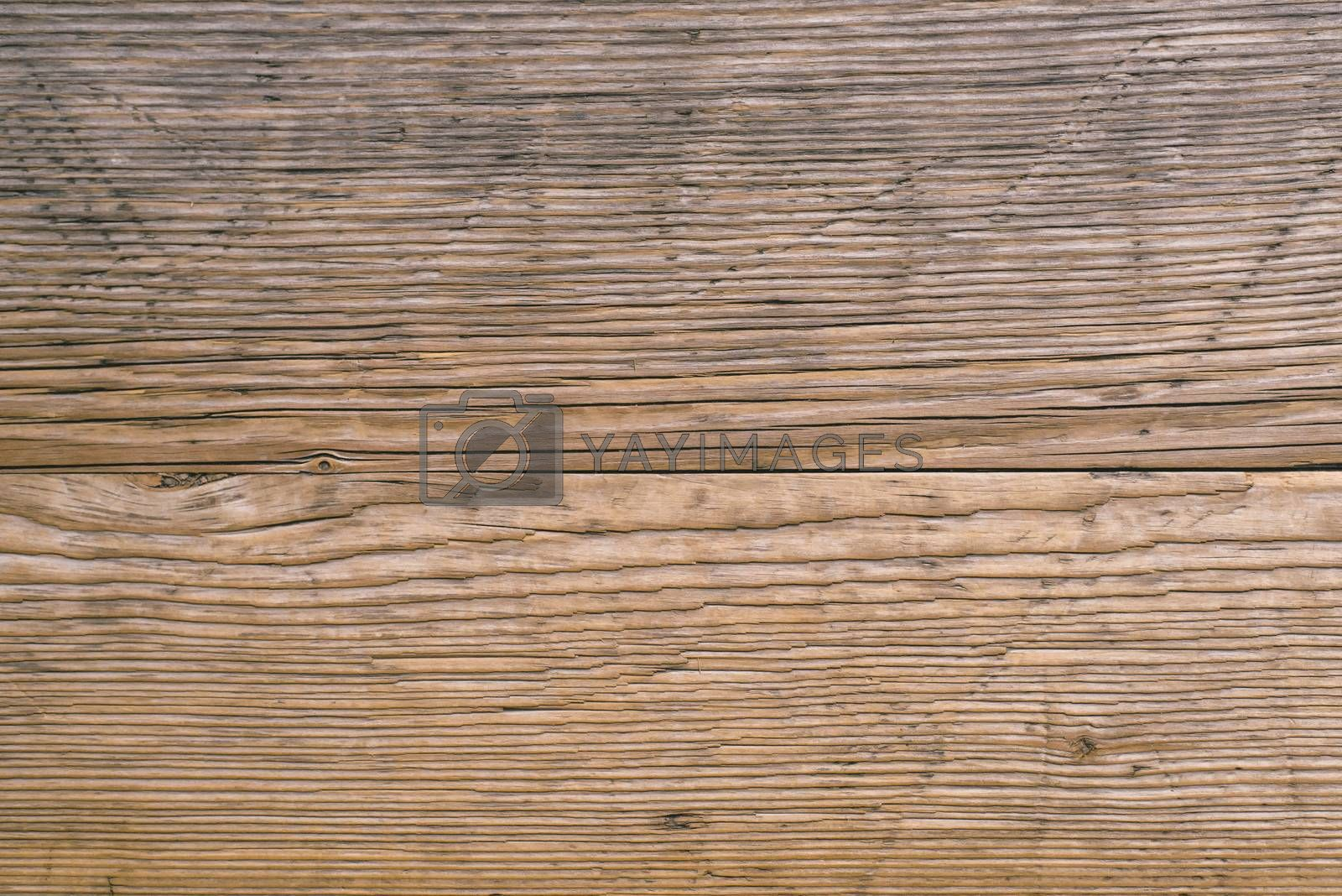 Old wooden plank texture, cracks in used oak wood board