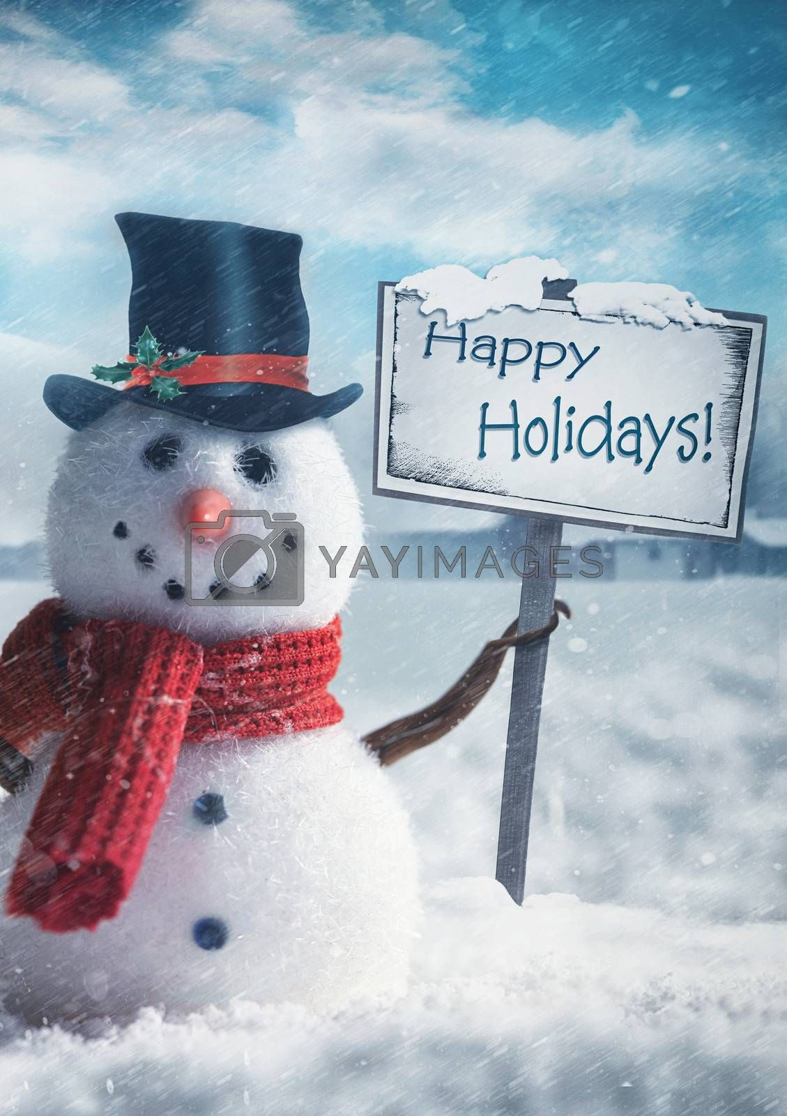 Snowman holding wooden sign with holiday greetings