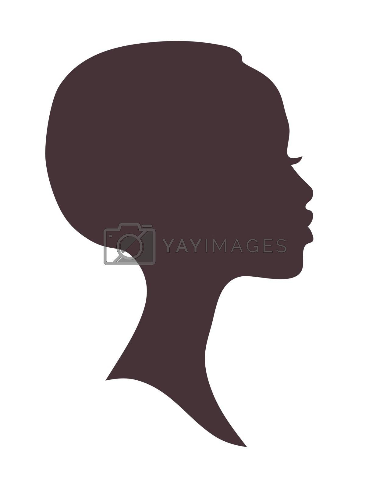 African woman face silhouette. Young attractive modern girl profile sign logo