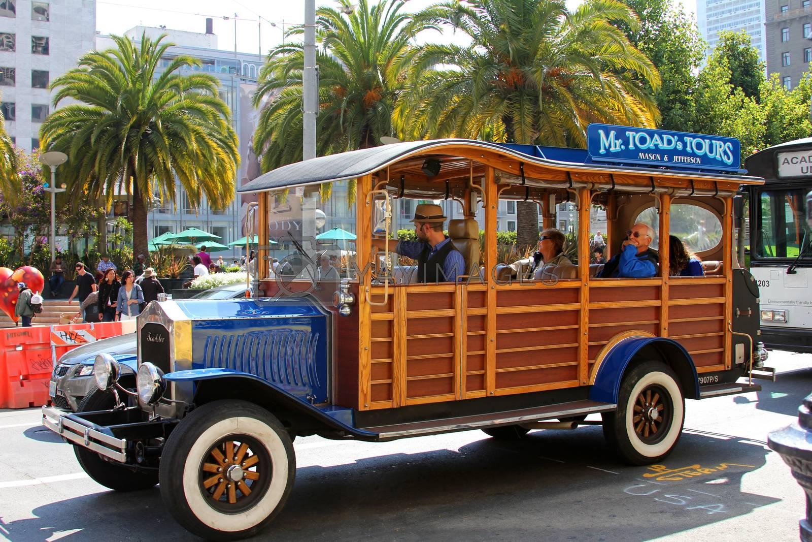 San Francisco, California, USA - September 14, 2011: stylized touristic car on Union Square in San Francisco