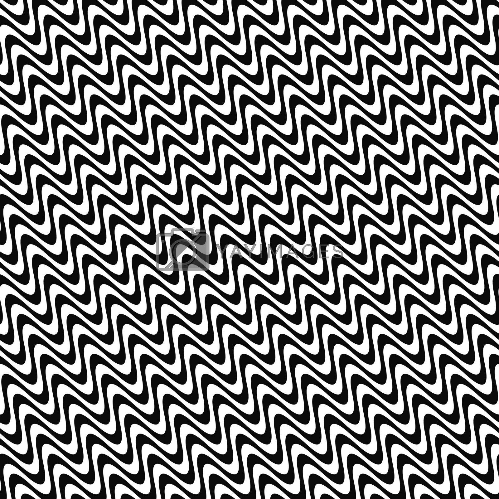 Repeating angular black and white wave pattern