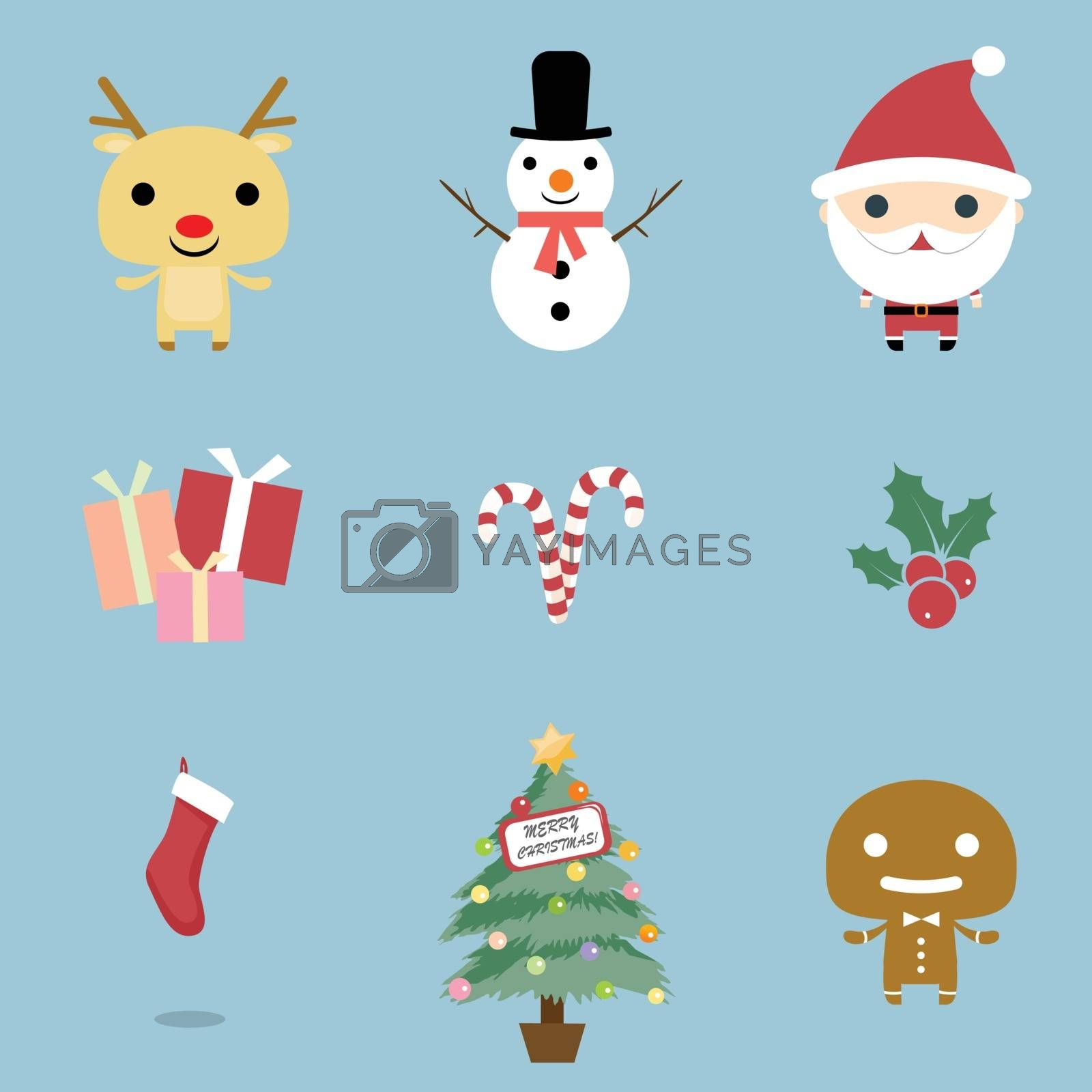 Christmas and Winter icons collection. Christmas Icons set, vector. Christmas icons, elements and illustrations. Christmas Icons/Objects Collection. Detailed vector illustration.