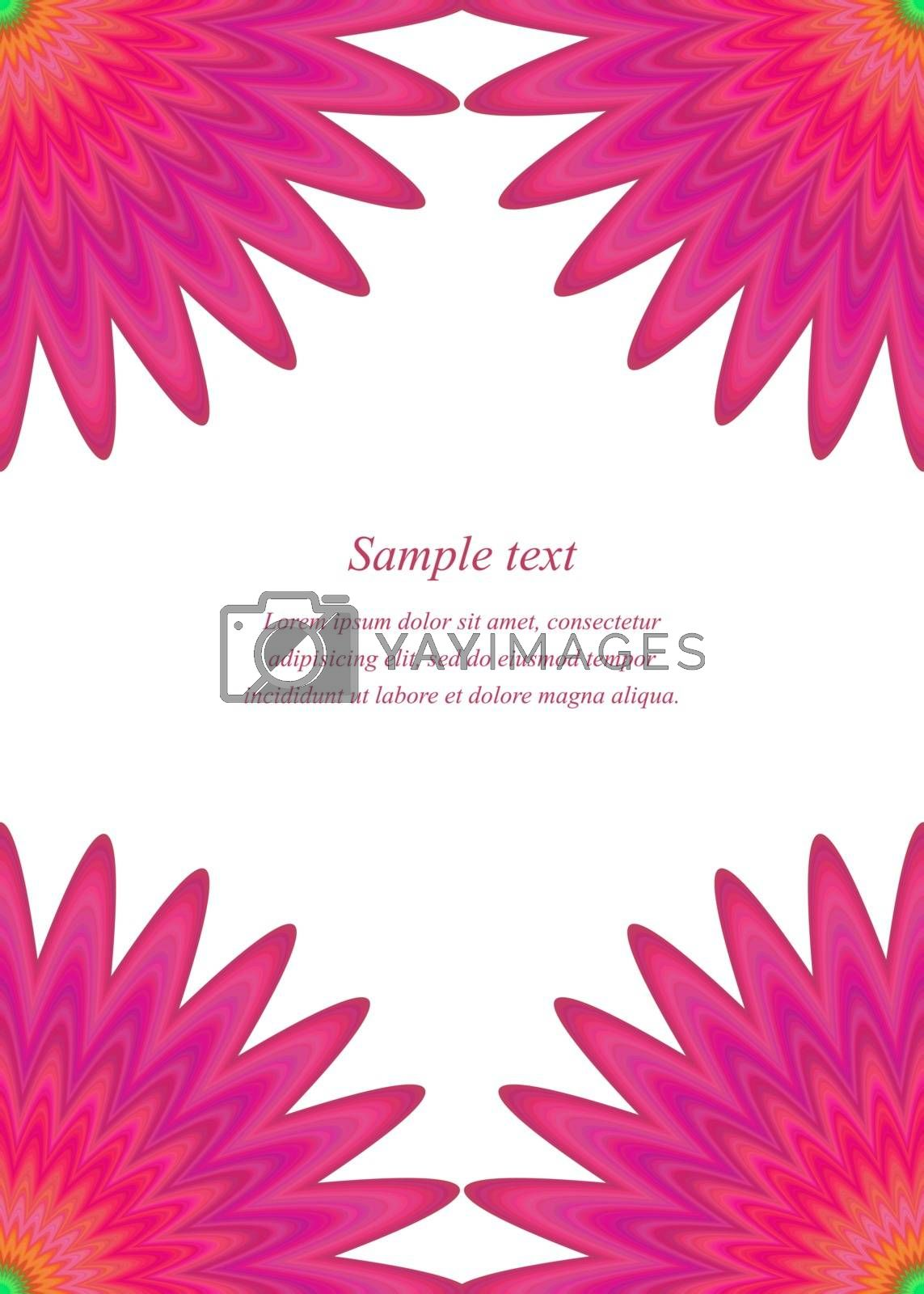 Red floral ornament page corner design template