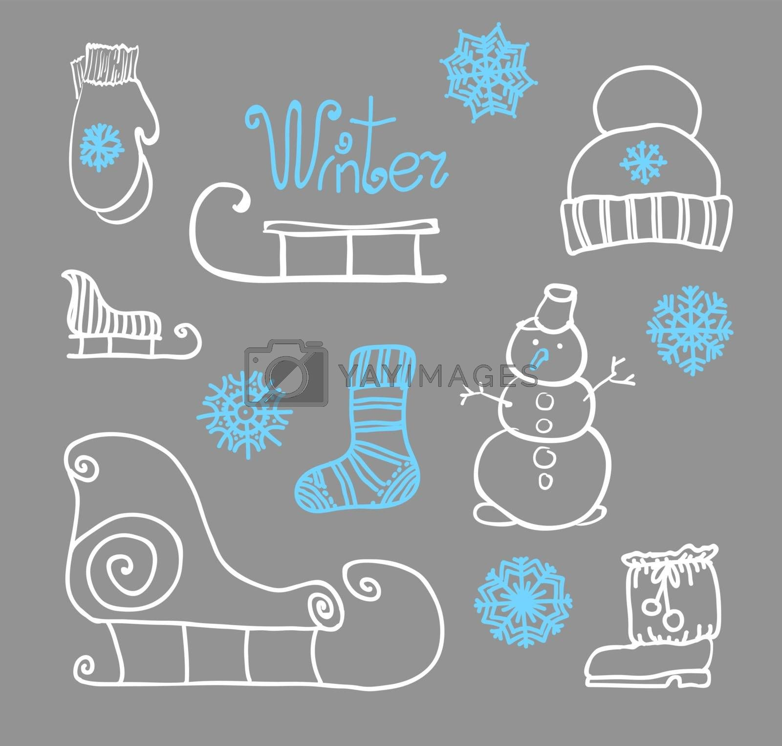 hand drawing Winter holiday Set by OlgaBerlet