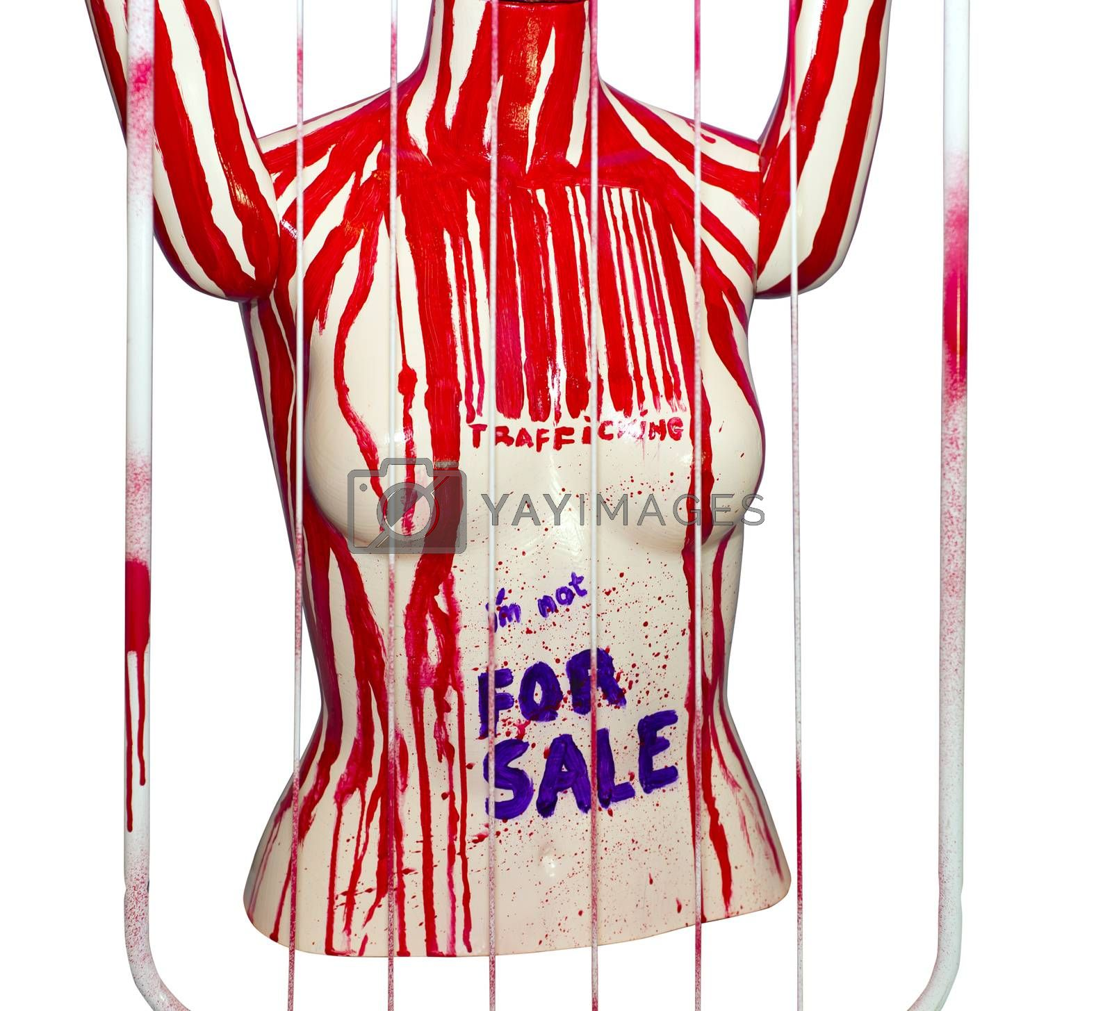 painted mannequin torso depicting the prostitution and slavery trade of women with clipping path