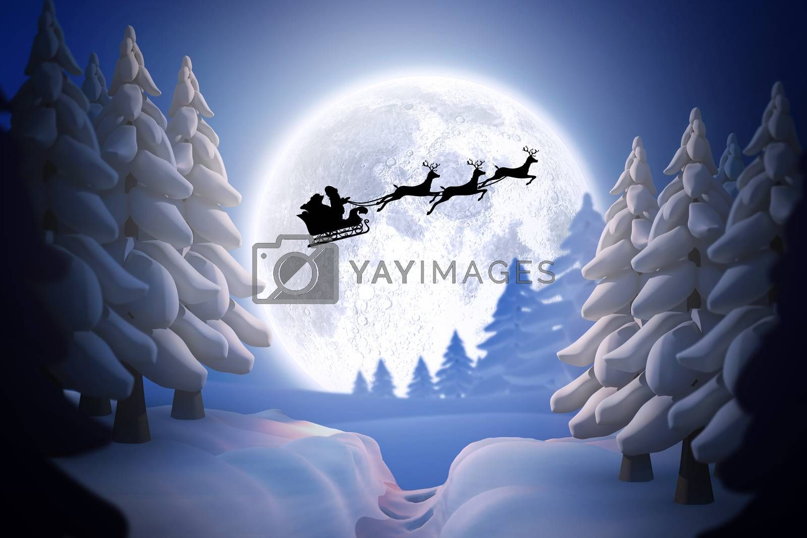 Composite image of silhouette of santa claus and reindeer by Wavebreakmedia