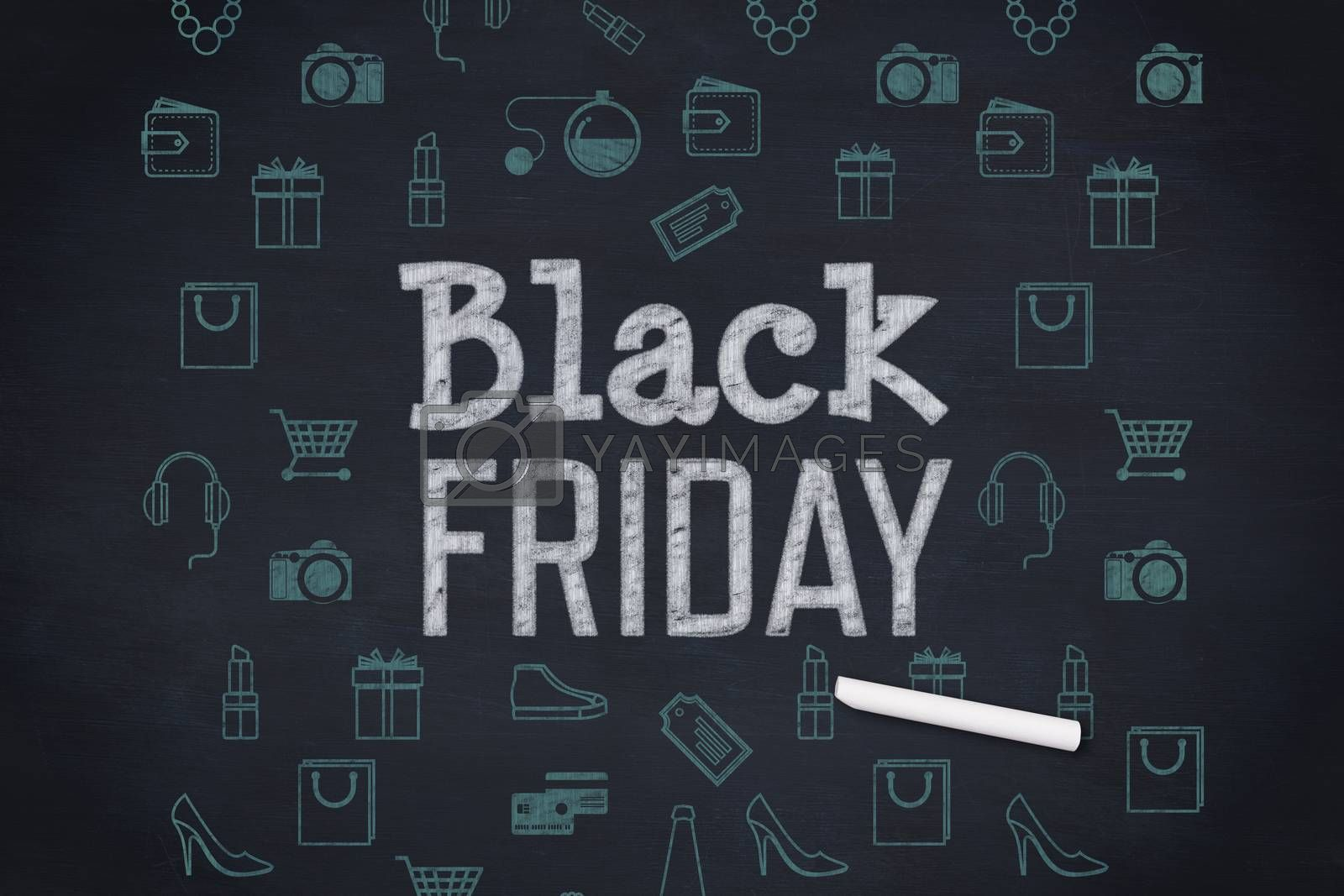 Black friday advert against blackboard with copy space