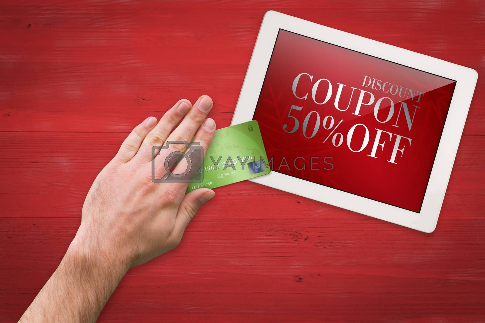 Hand touching against sale advertisement
