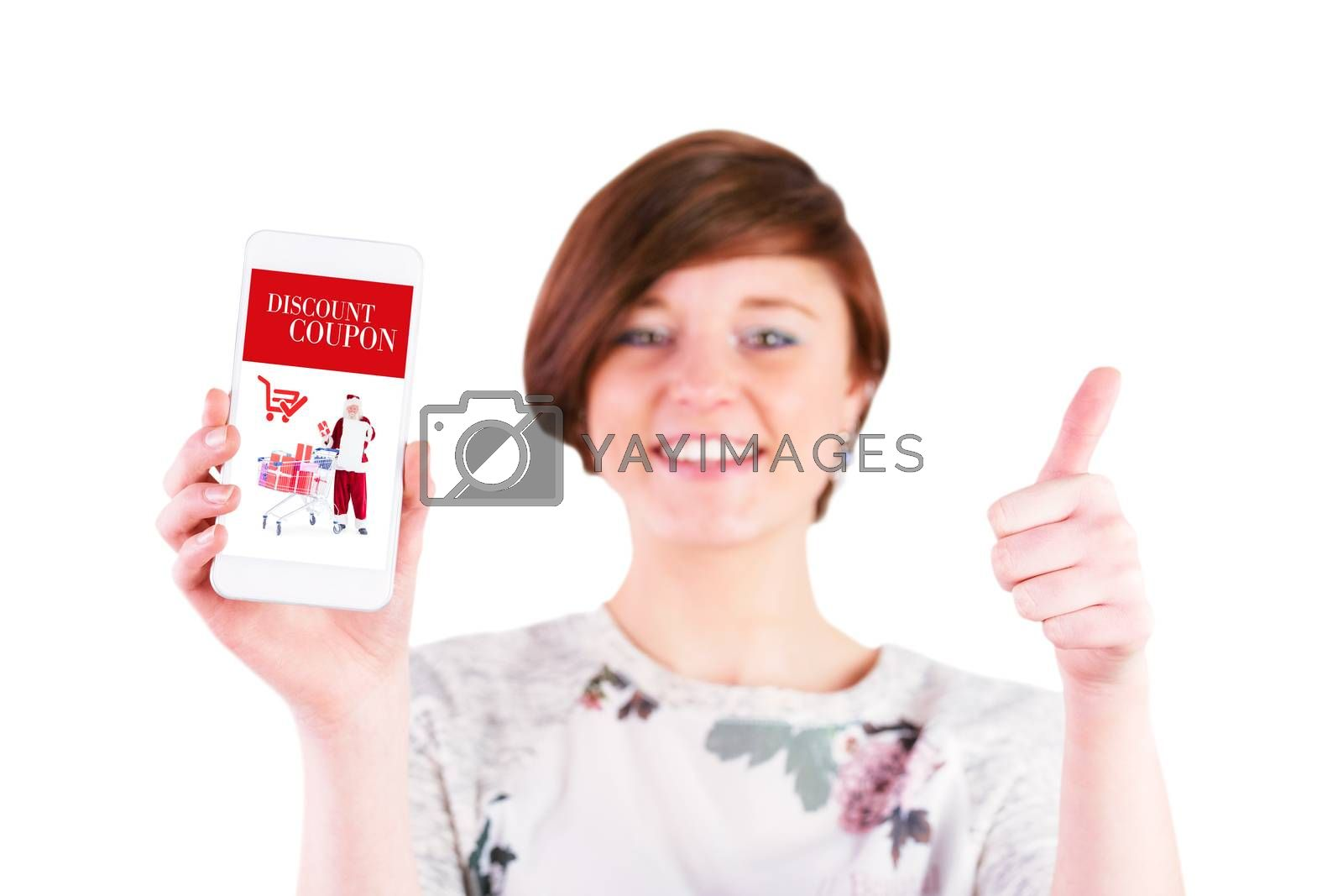 Happy woman gesturing thumbs up while showing smart phone against sale advertisement