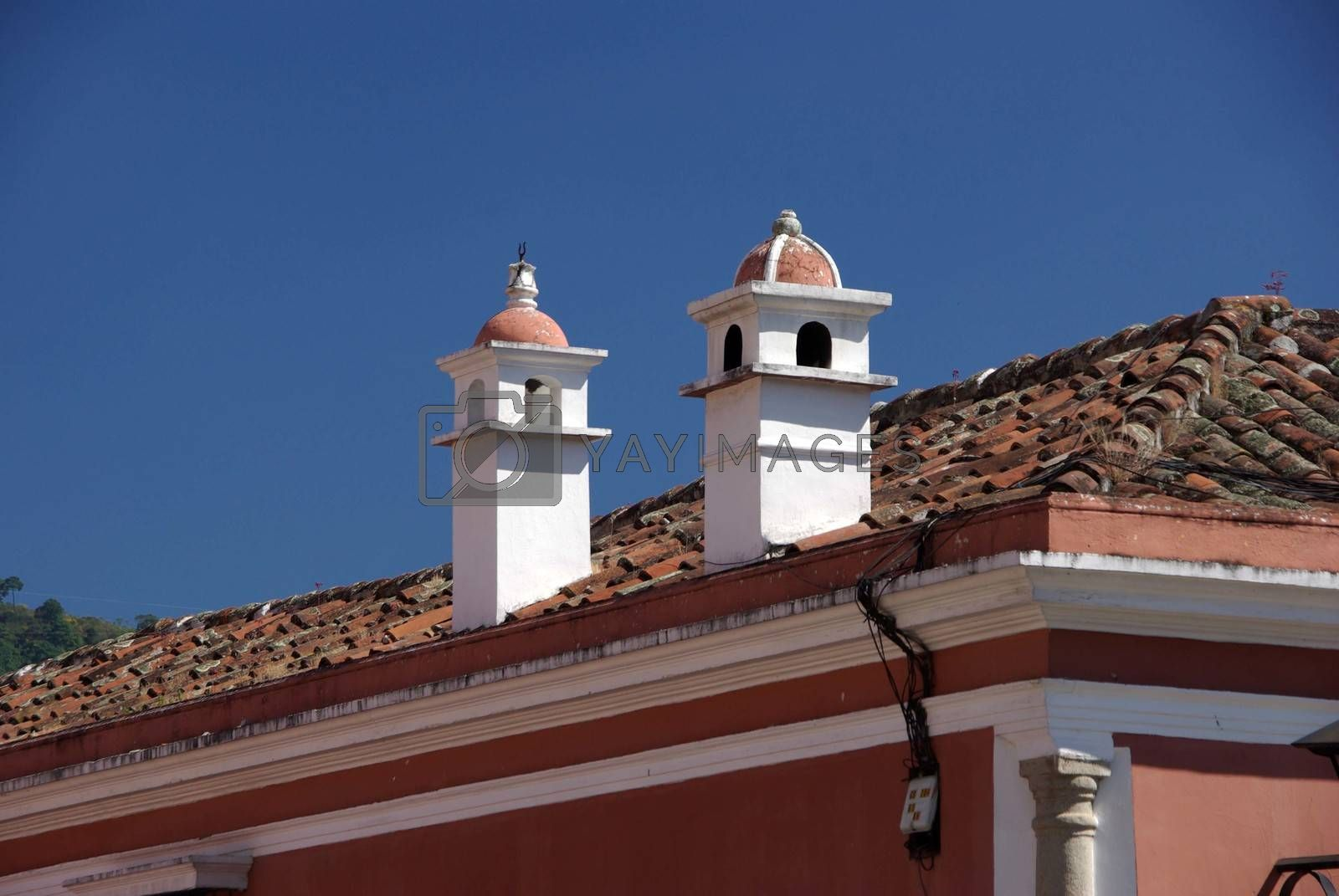 Roof and chimney in the ancient colonial city of Antigua in Guatemala, Central America