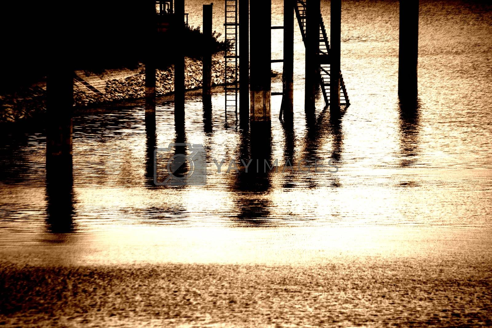 The dark pillars of a jetty and bridge in the evening light.