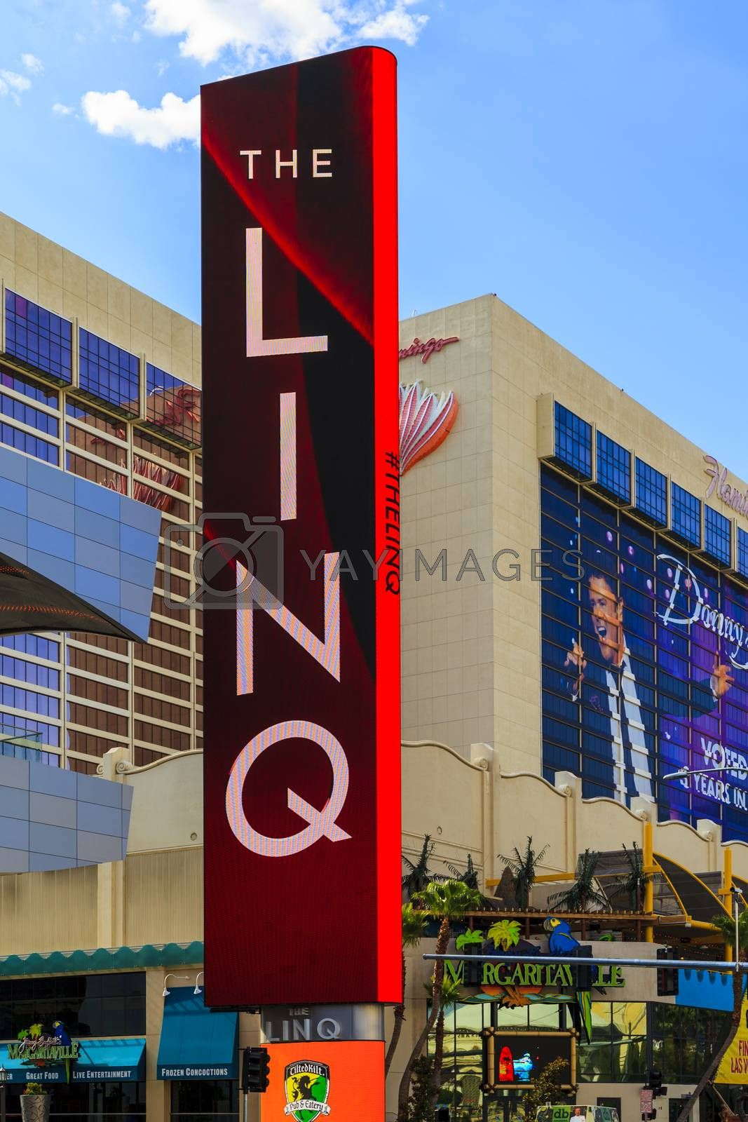 LAS VEGAS - JULY 7, 2015 -The LINQ Sign in Las Vegas. The LINQ is the open-air shopping and dining area leading up to The High Roller Wheel the world's largest observation wheel.