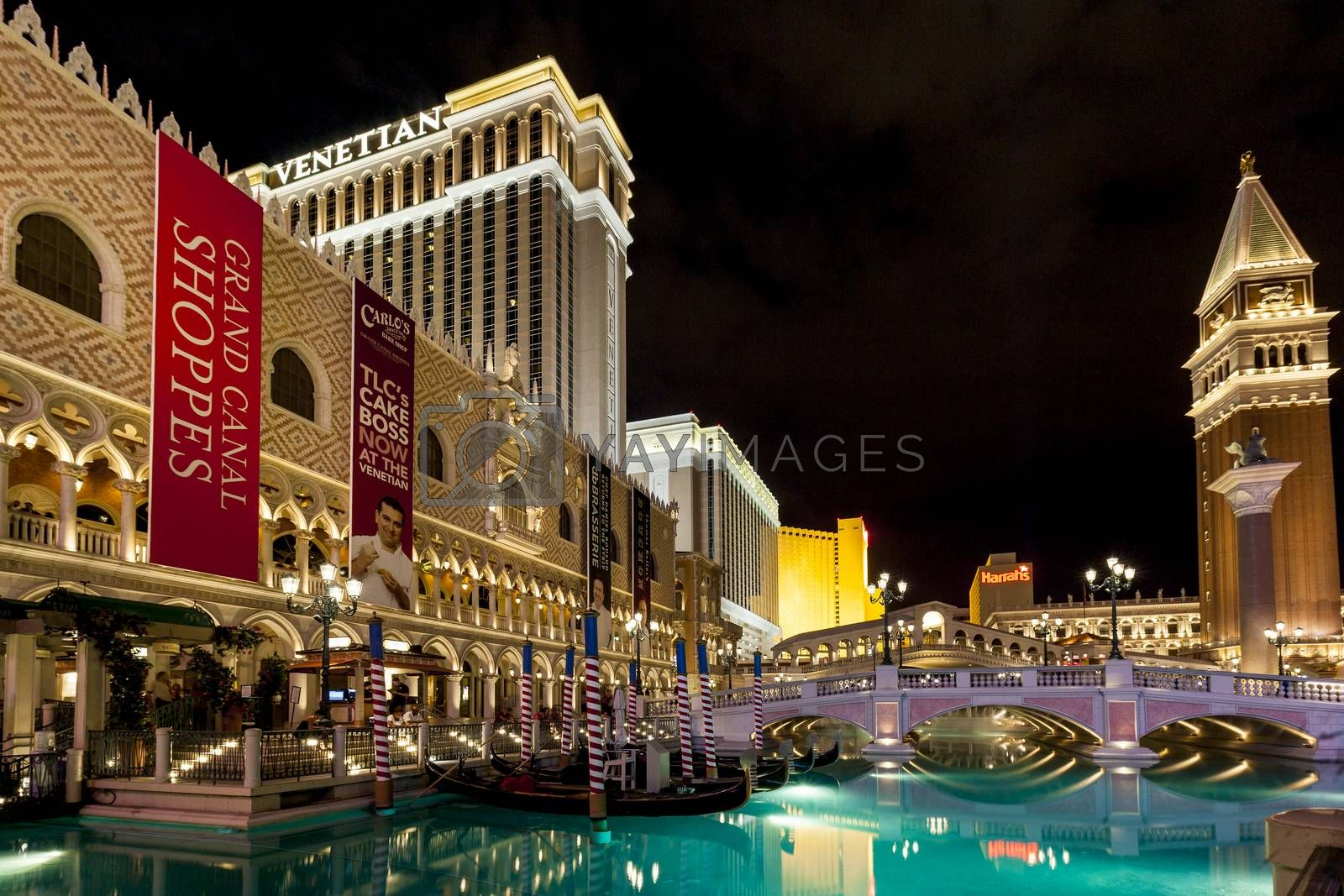 LAS VEGAS USA JULY 7 2015: The Venetian Resort Hotel & Casino The resort opened on May 3, 1999 with flutter of white doves, sounding trumpets, singing gondoliers and actress Sophia Loren.
