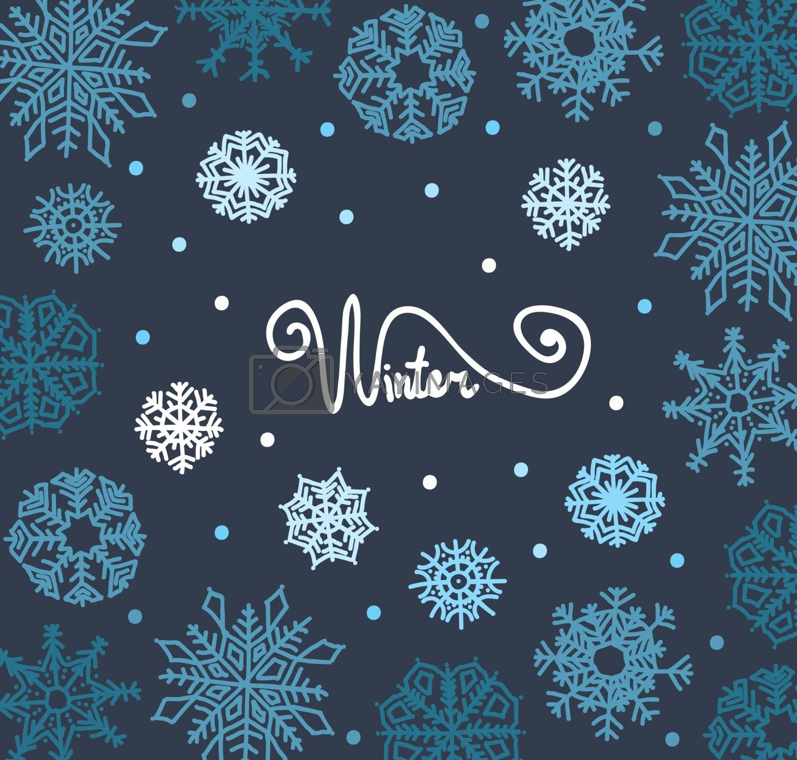 Beautiful background of snowflakes,  for winter design