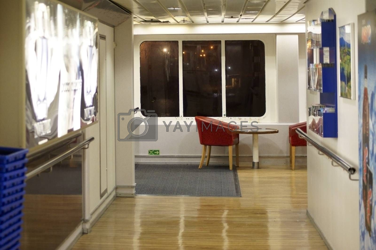 Calais, France - November 27, 2015: Window seats on the ferry between Calais and Dover with a large viewing window on November 27, 2015 in Calais.