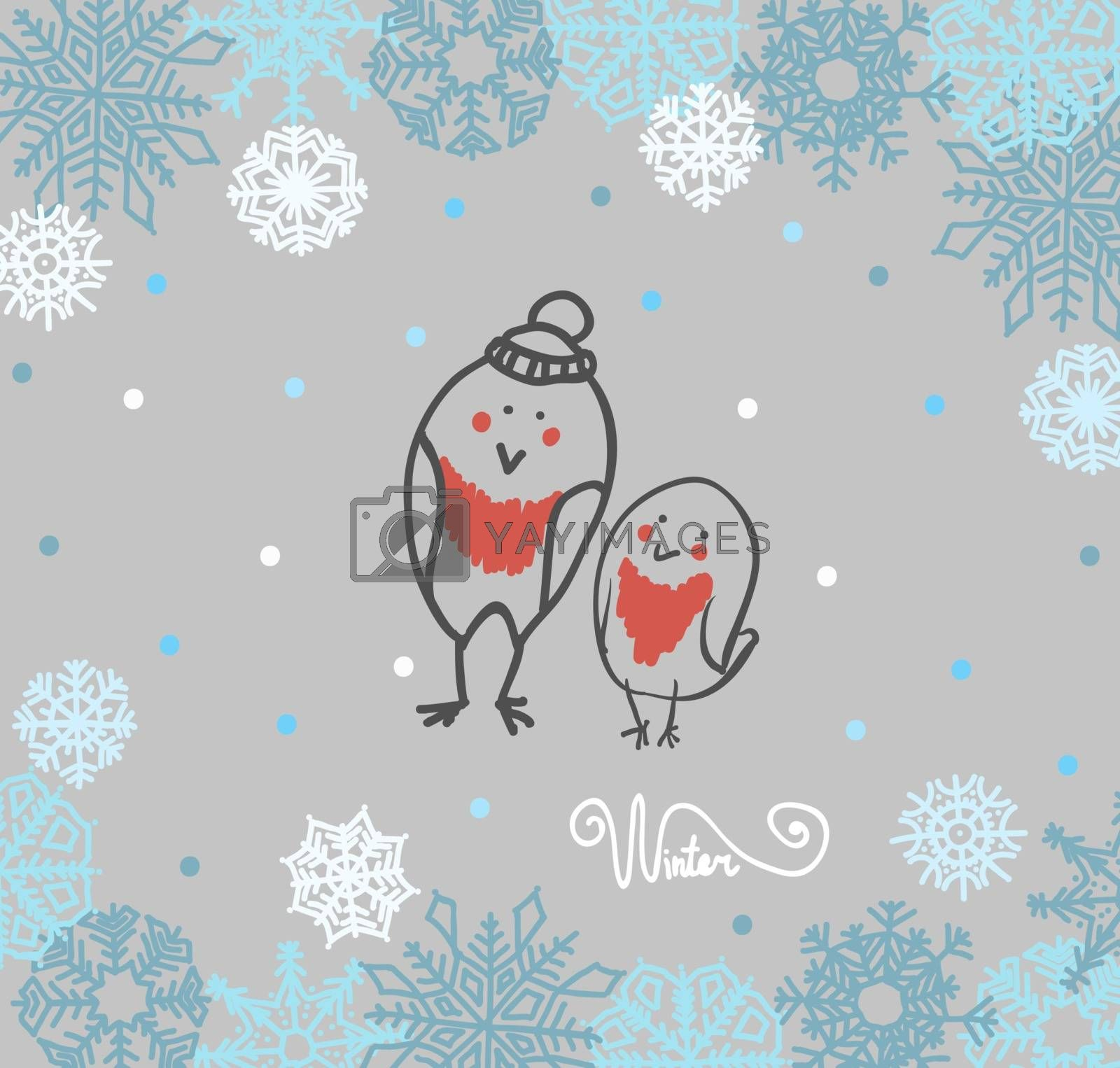 Funny birds bullfinch on winter background snowflakes. Vector illustration