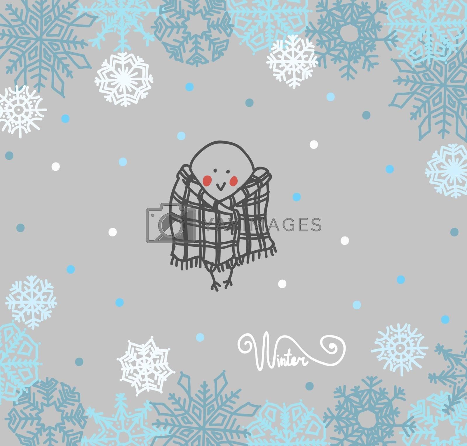 Funny birds bullfinch on winter background snowflakes  by OlgaBerlet