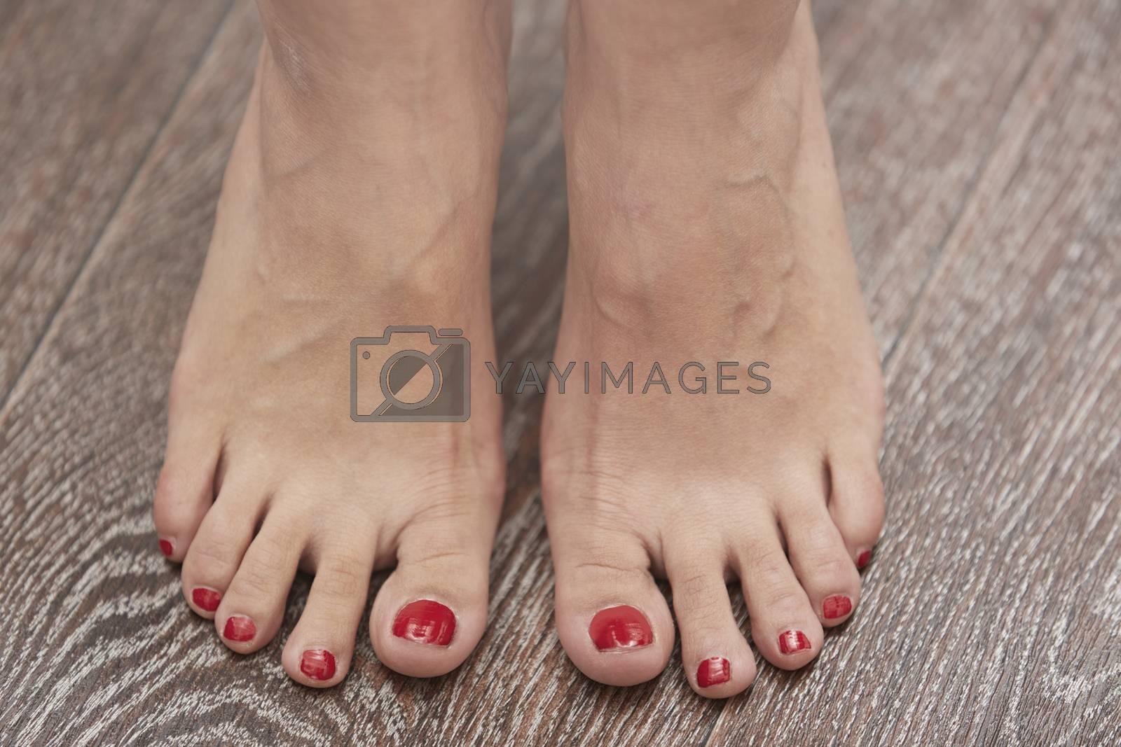 Woman feet on the hardwood surface. Horizontal photo