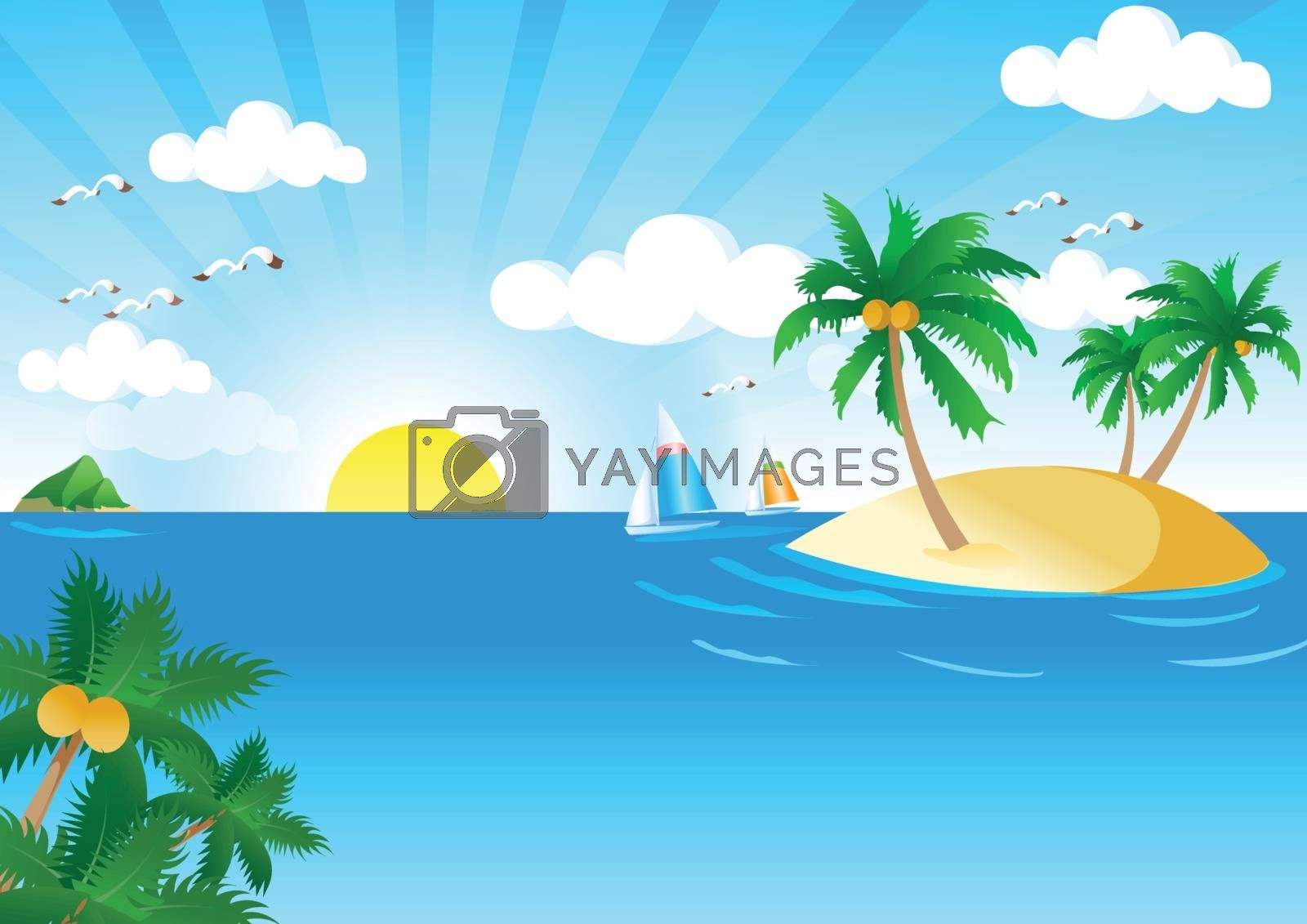 Sunny and Sea Vector. Vector Illustration of Summer Tropical Beach. Tropical Palm With Sea Wave on Sunny Background.