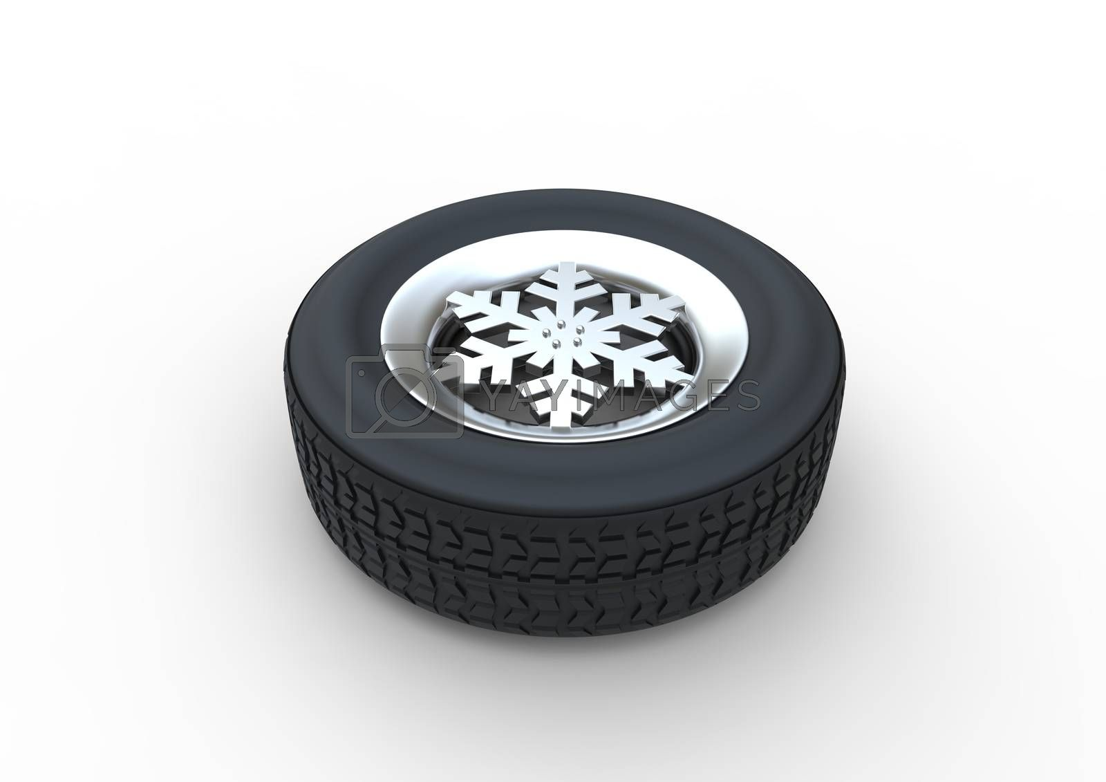 Set of winter tires with the rim of snowflake shape isolated on white background 3d illustration