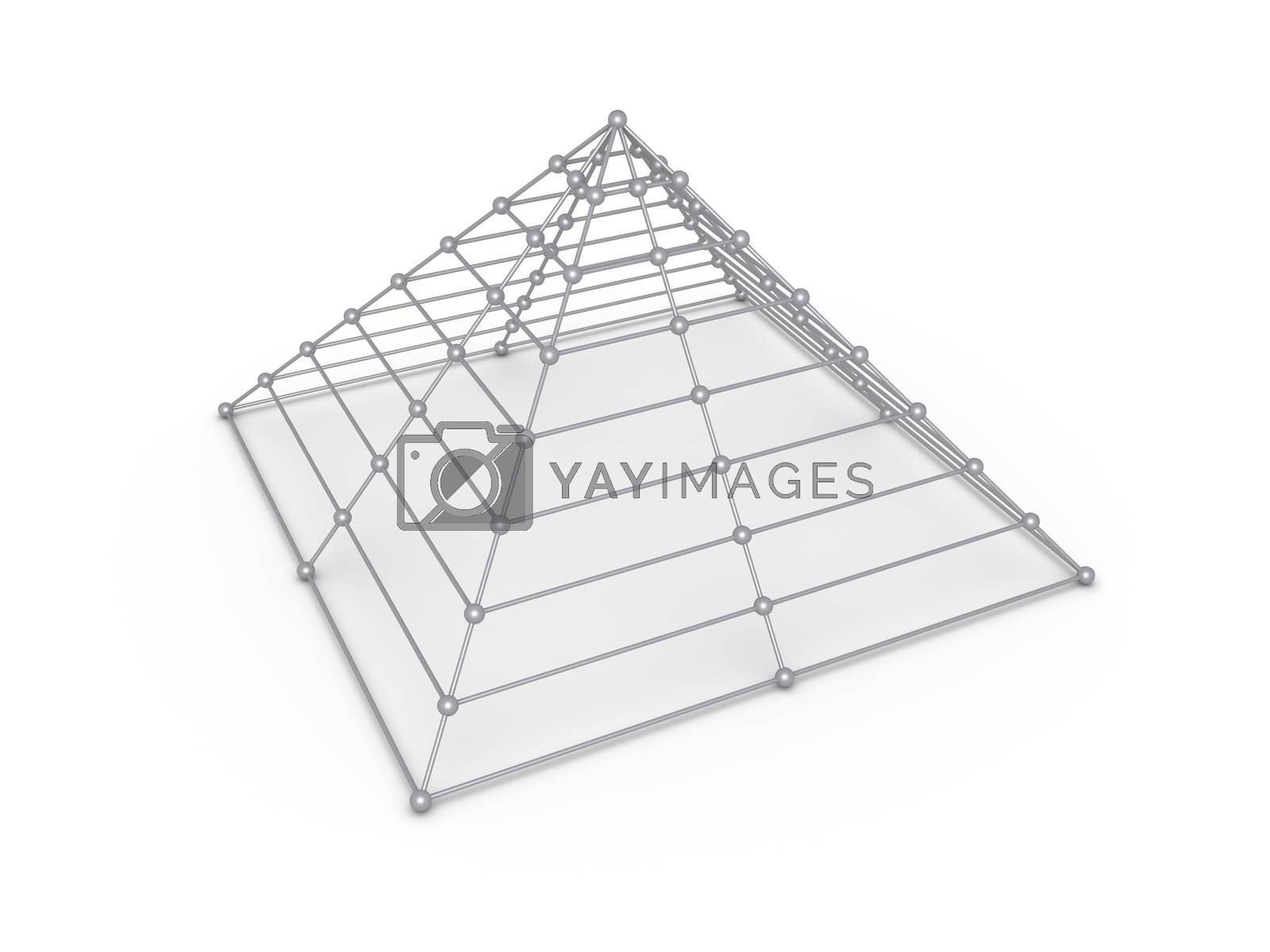 Pyramid construction made of spheres and cylinders