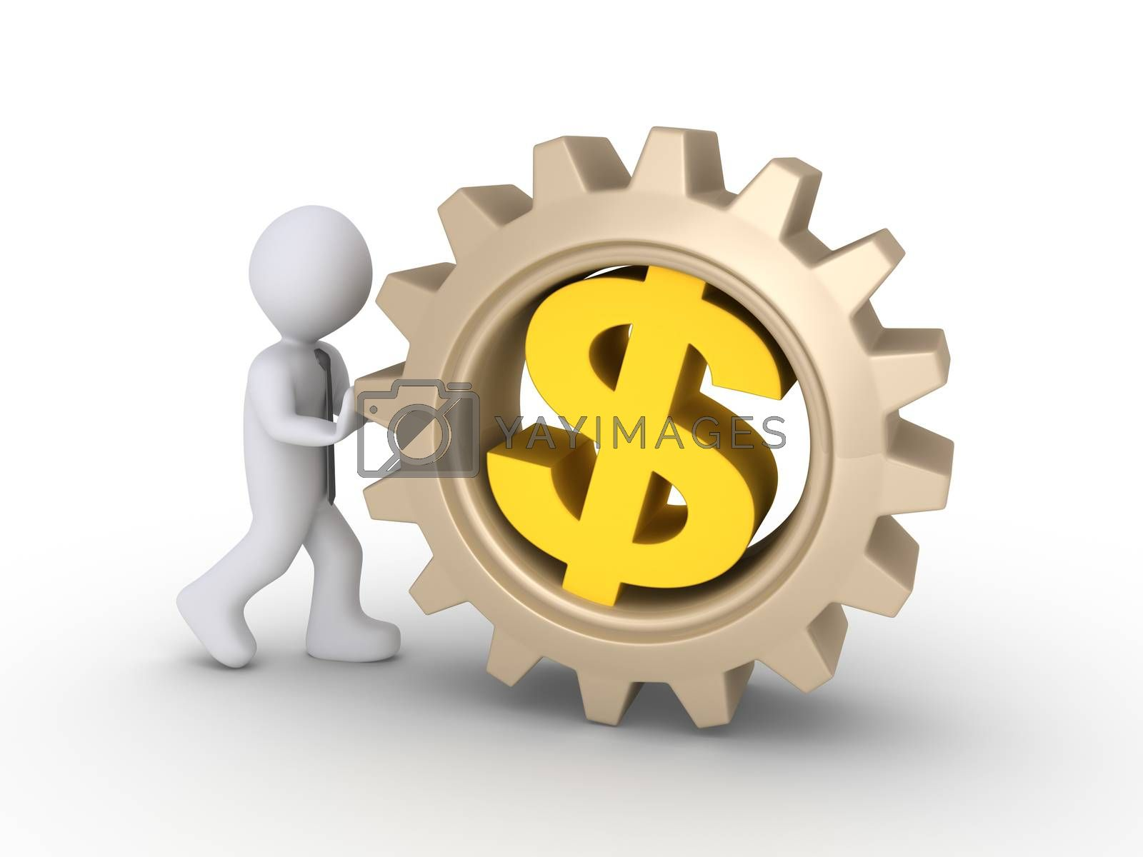 Person as worker is pushing a big cogwheel with a dollar symbol inside it