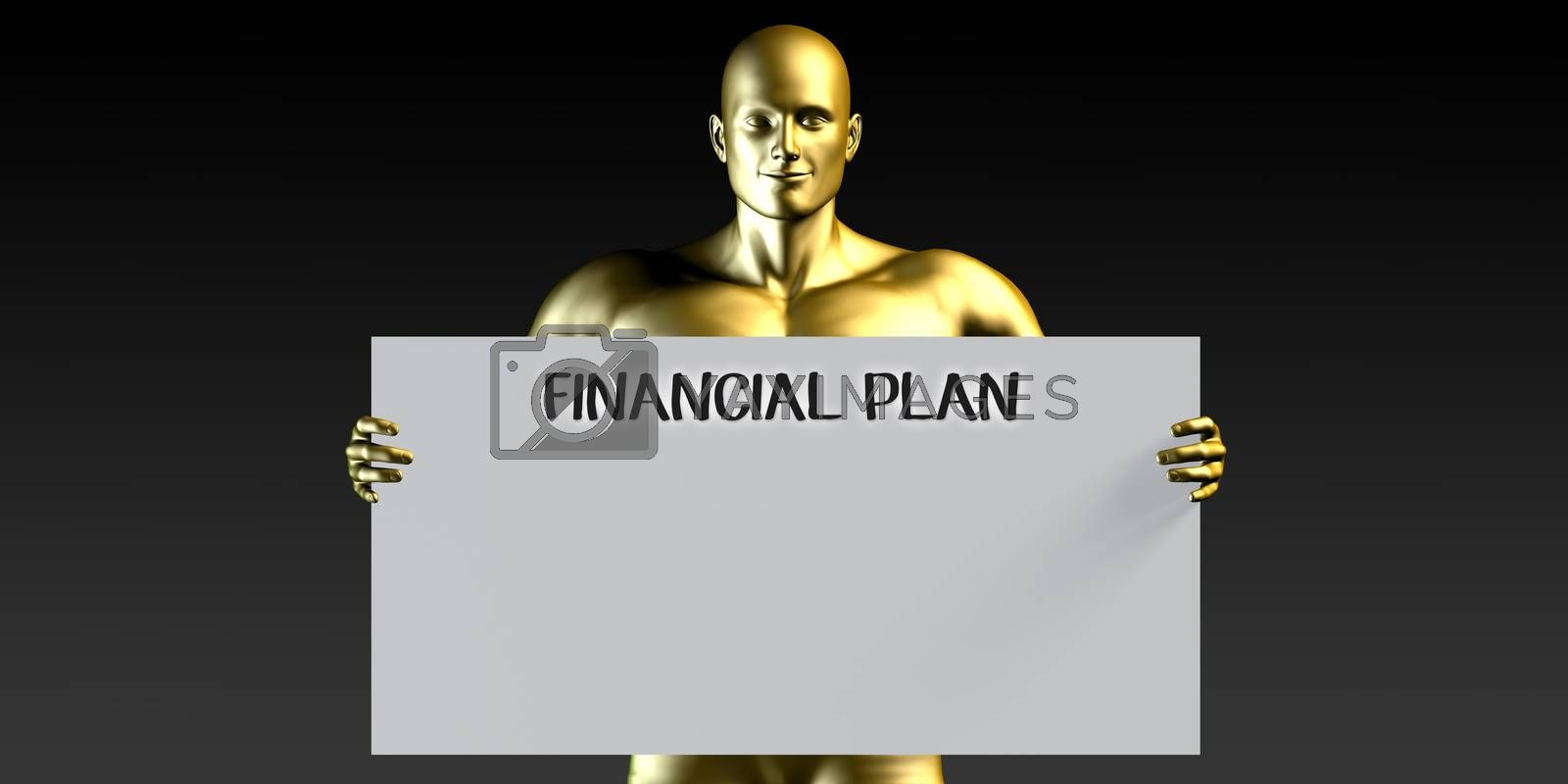 Financial Plan with a Man Holding Placard Poster Template
