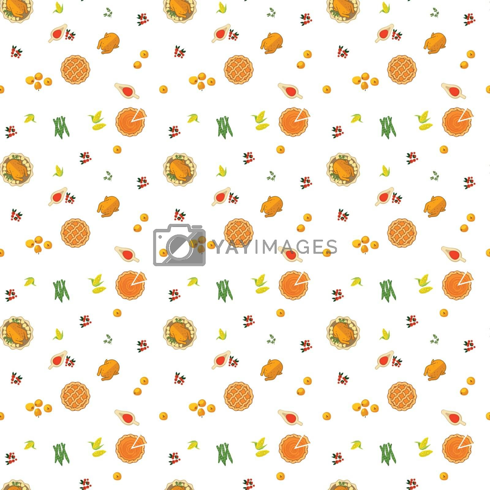 Vector. Thanksgiving seamless pattern with food on a white background.