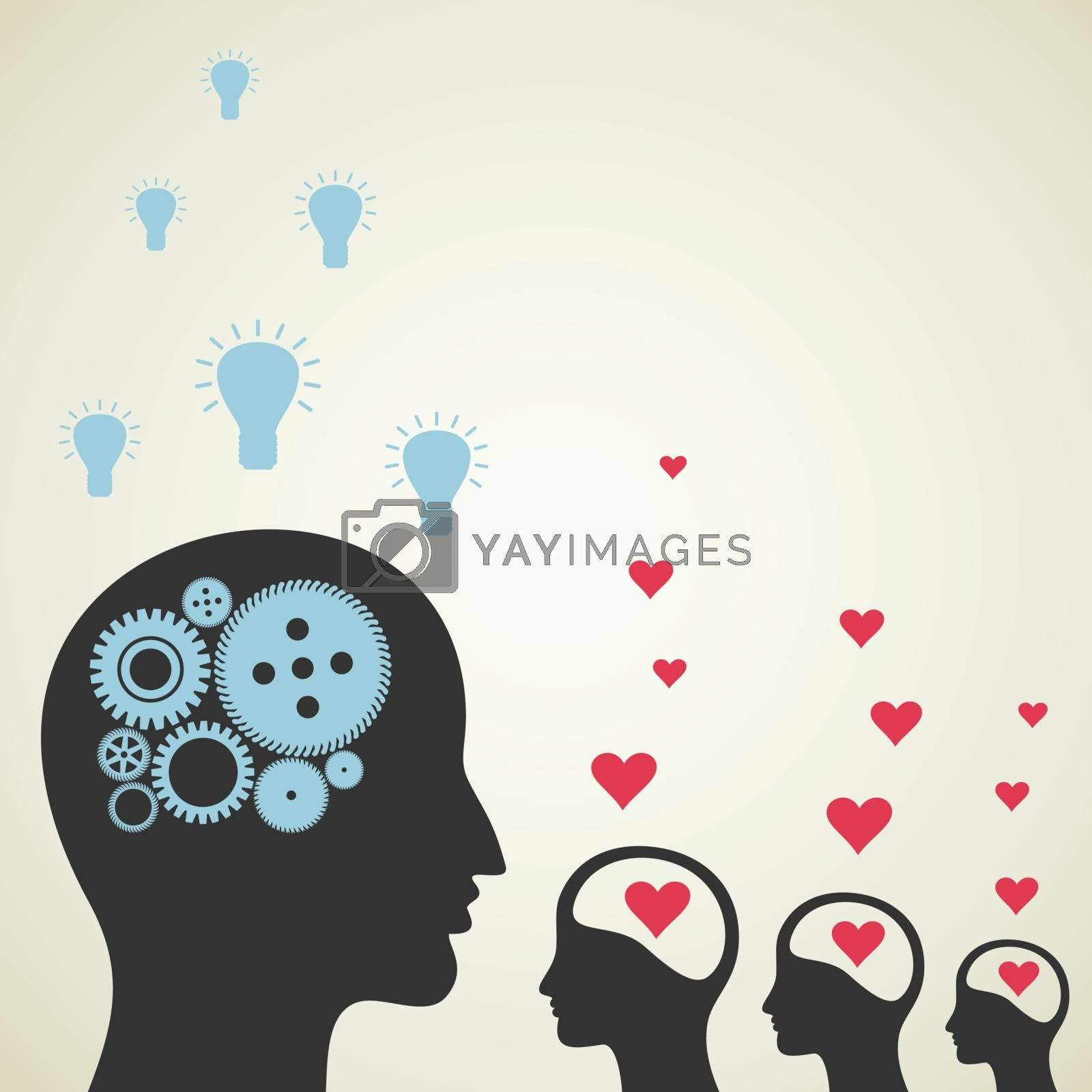 The ideological brain is more than enamoured. A vector illustration