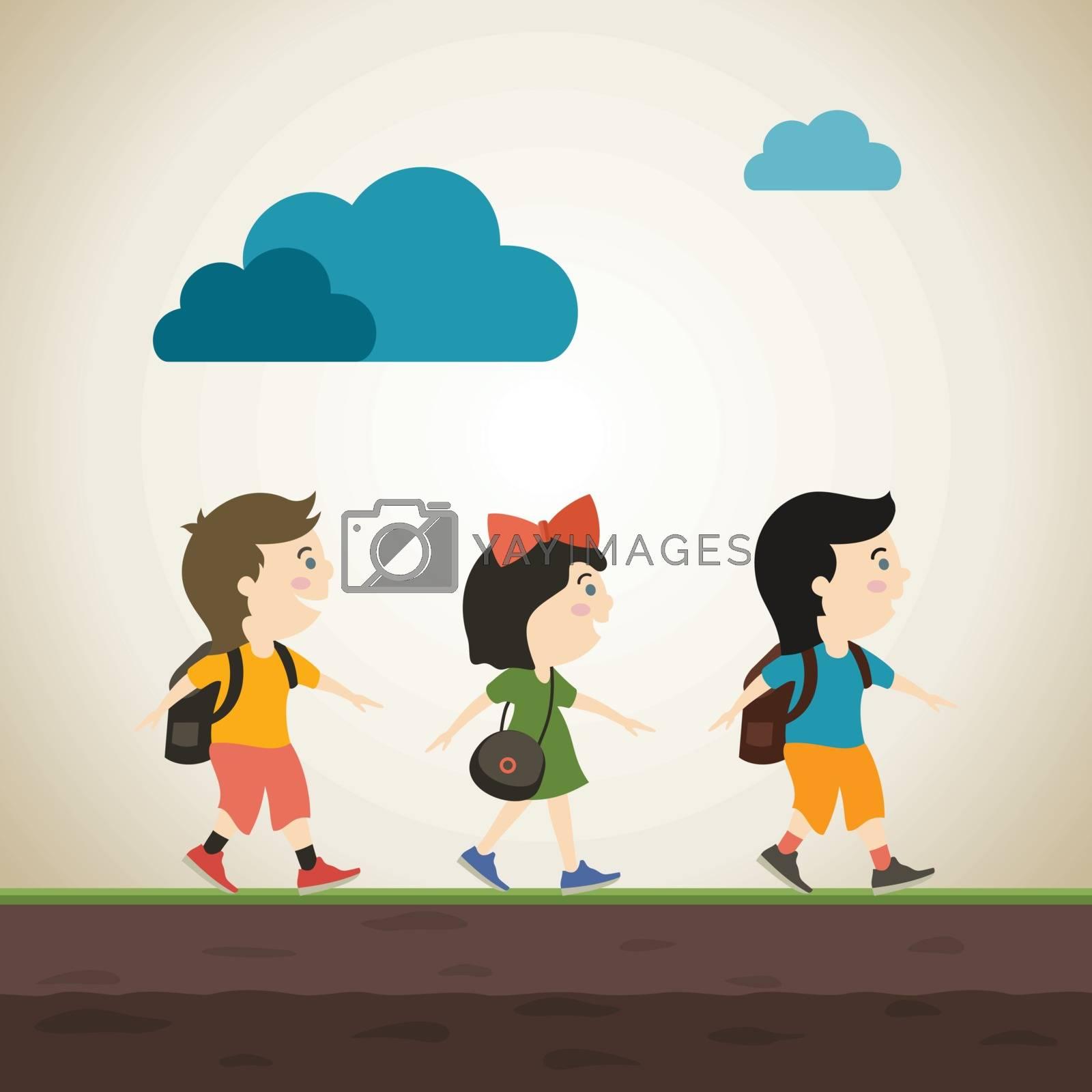 Children go to school. A vector illustration
