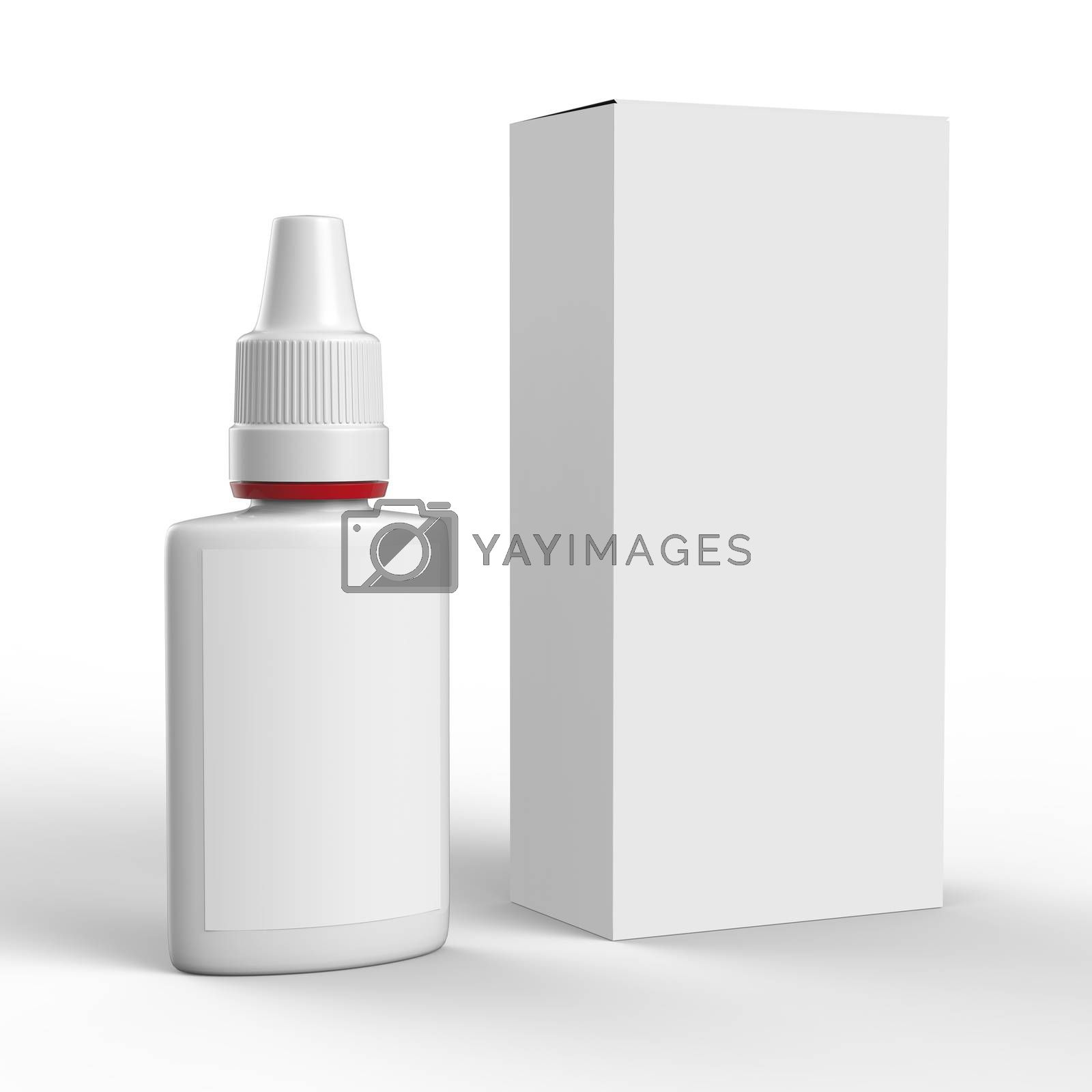 Clean mockup of nasal spray bottle and box isolated on white background. Ready For Your Design.