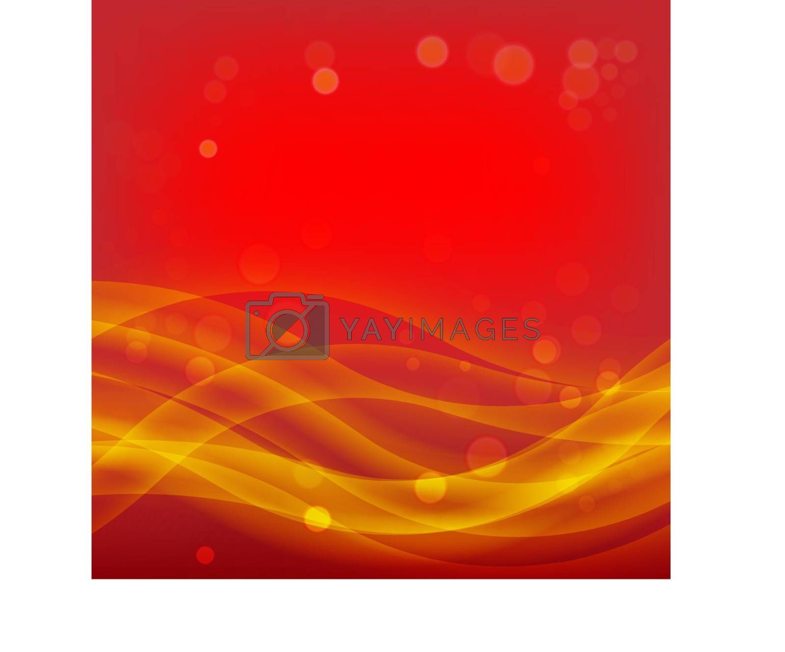Red Christmas Abstract Background with Smooth Waves and Light Golden Bokeh Effect